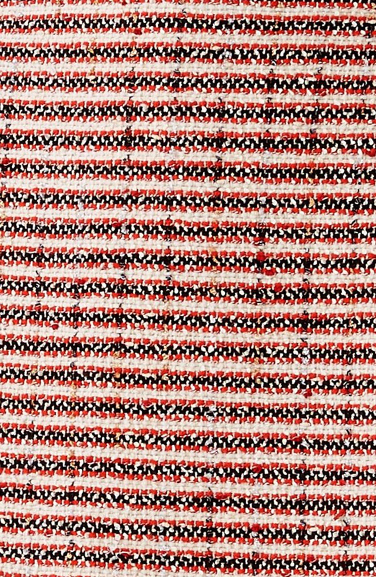 Stripe Tweed A-Line Skirt,                             Alternate thumbnail 4, color,                             GARDENIA-HIBISCUS RED STRIPE