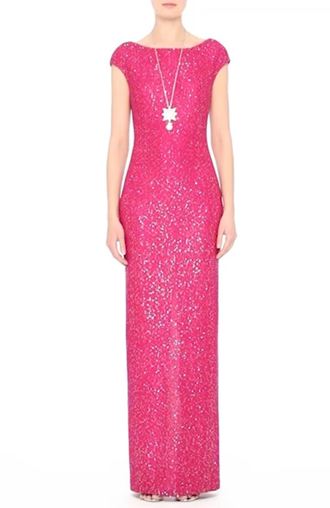 Sequin Knit Column Gown,                             Alternate thumbnail 7, color,