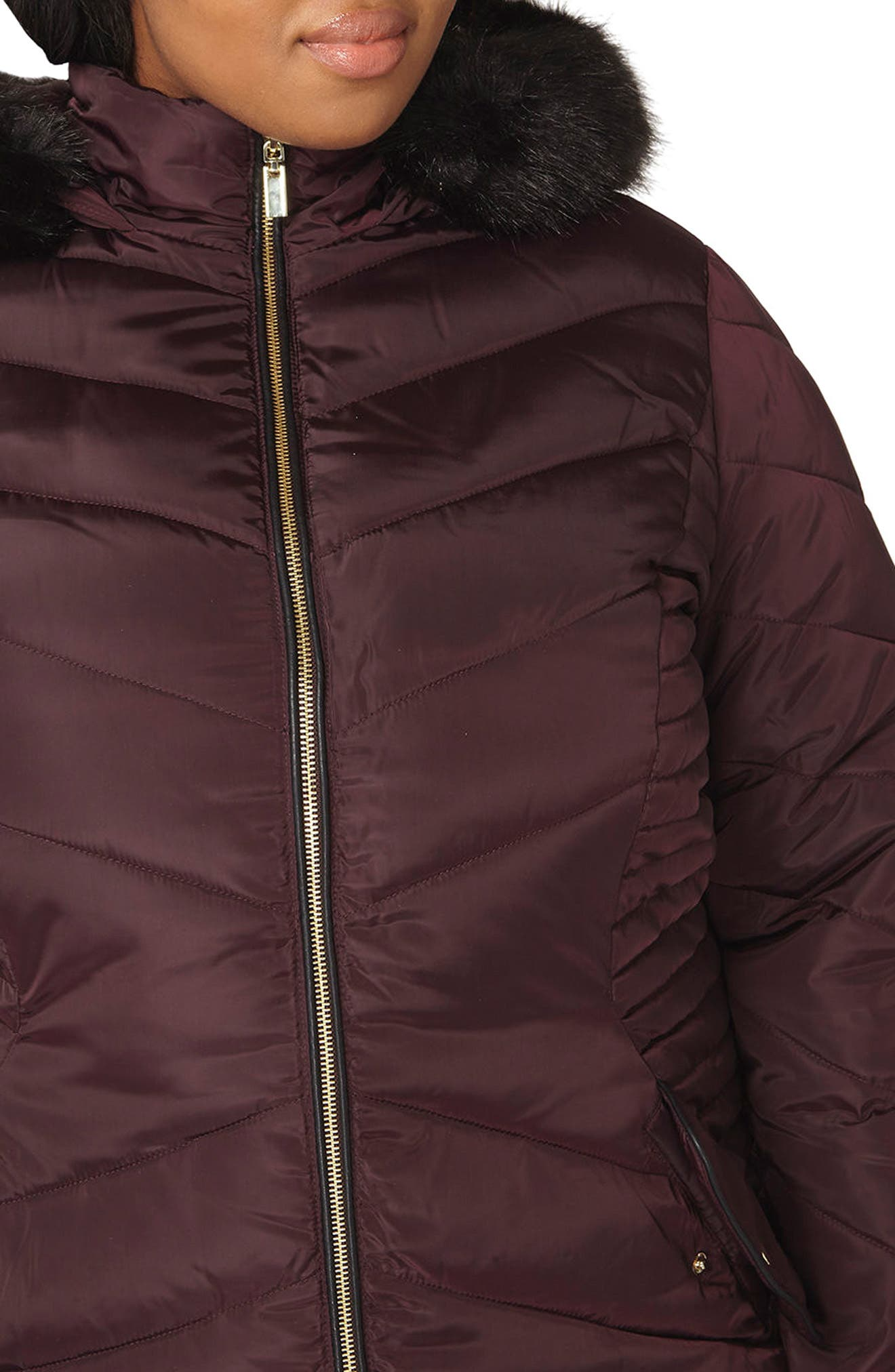Faux Fur Trim Hooded Puffer Coat,                             Alternate thumbnail 8, color,