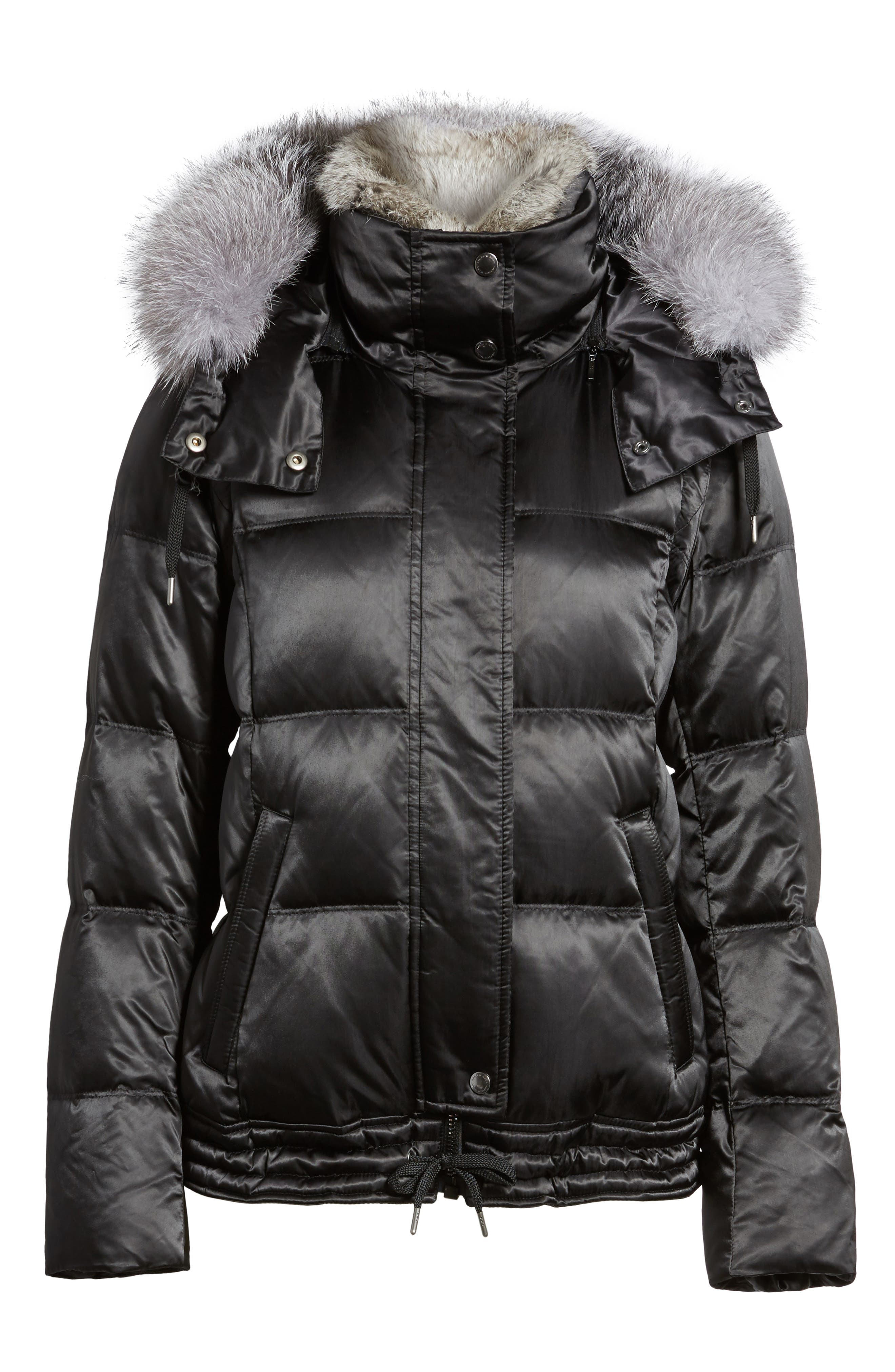 Convertible Down Coat with Genuine Rabbit Fur & Genuine Fox Fur,                             Alternate thumbnail 5, color,                             001