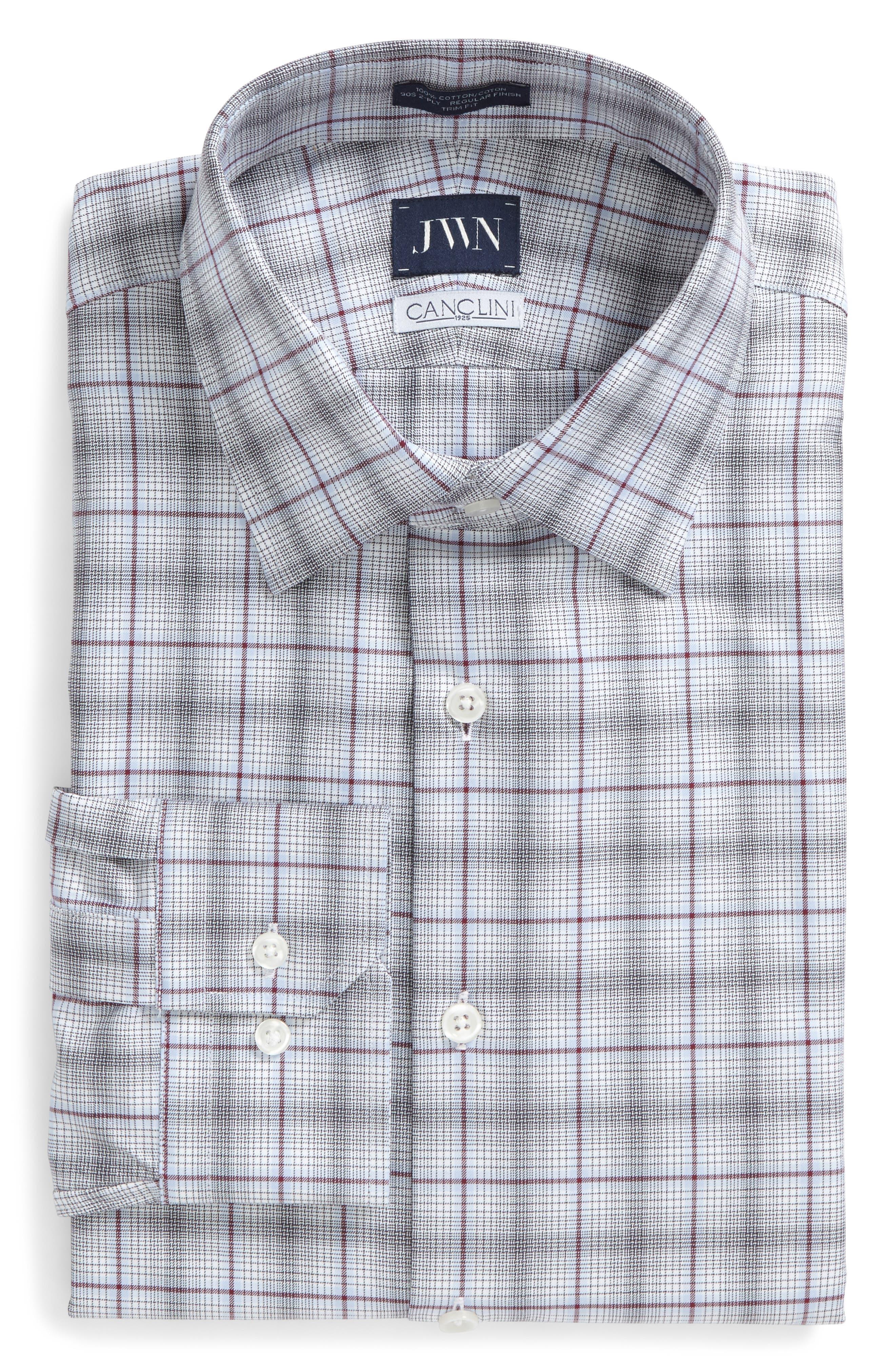 Trim Fit Plaid Dress Shirt,                         Main,                         color, 601