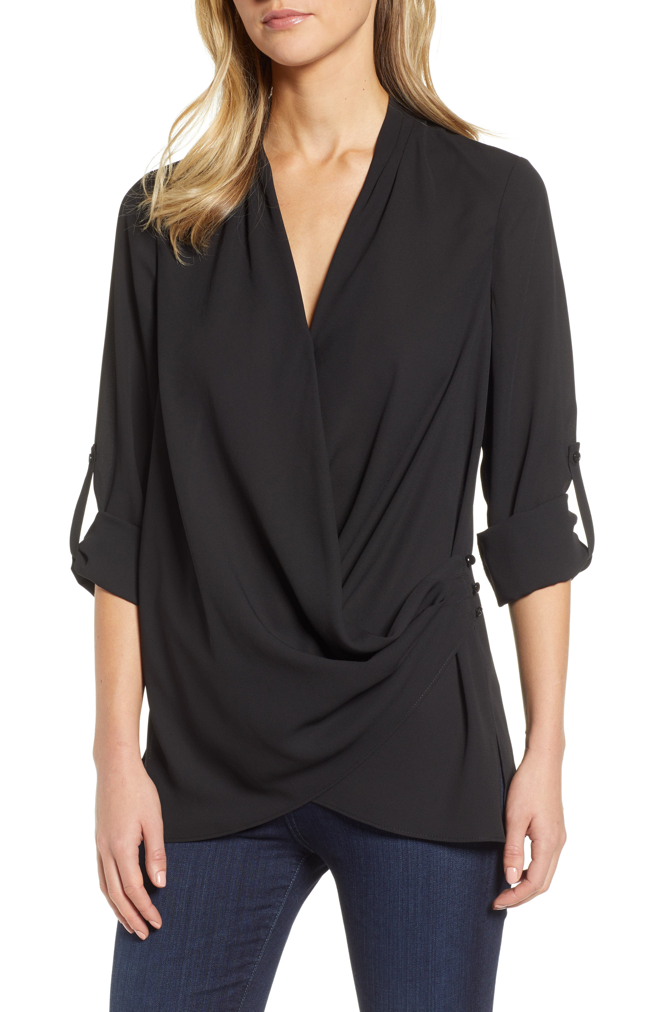 Side Drape Blouse,                             Main thumbnail 1, color,                             BLACK