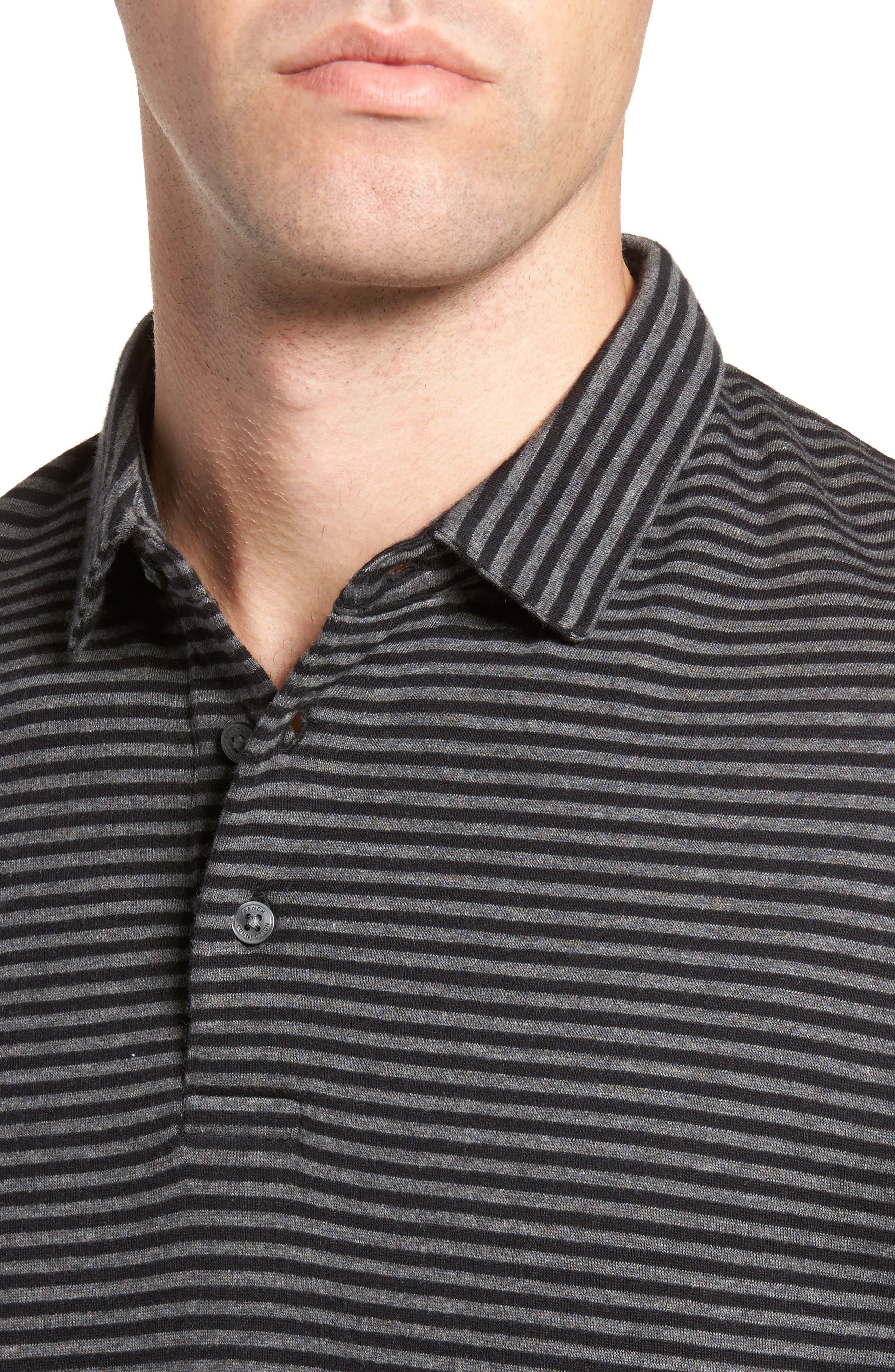 Alternative Stripe Long Sleeve Polo,                             Alternate thumbnail 4, color,                             020