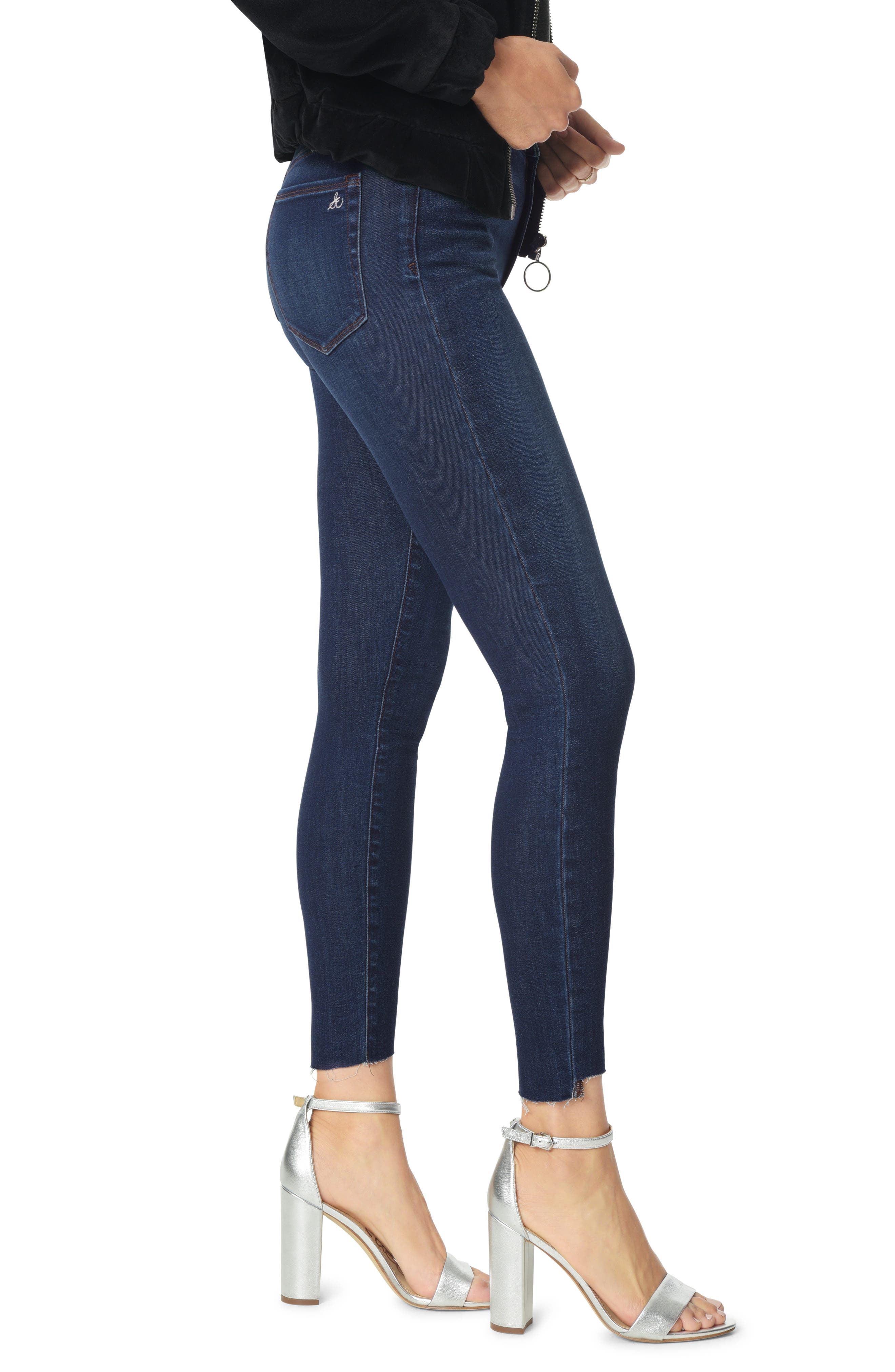 The Stiletto Angled Raw Hem Ankle Skinny Jeans,                             Alternate thumbnail 3, color,                             BABZ