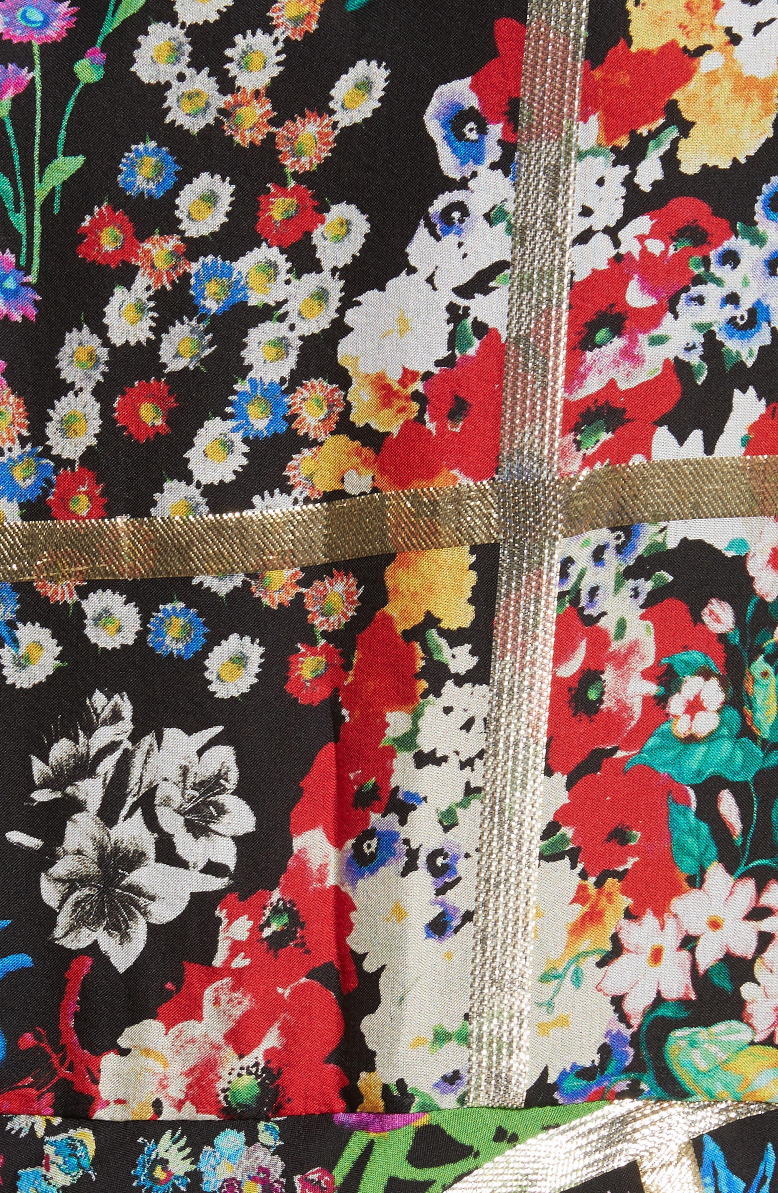 Metallic Grid Floral Print Silk Dress,                             Alternate thumbnail 5, color,                             001