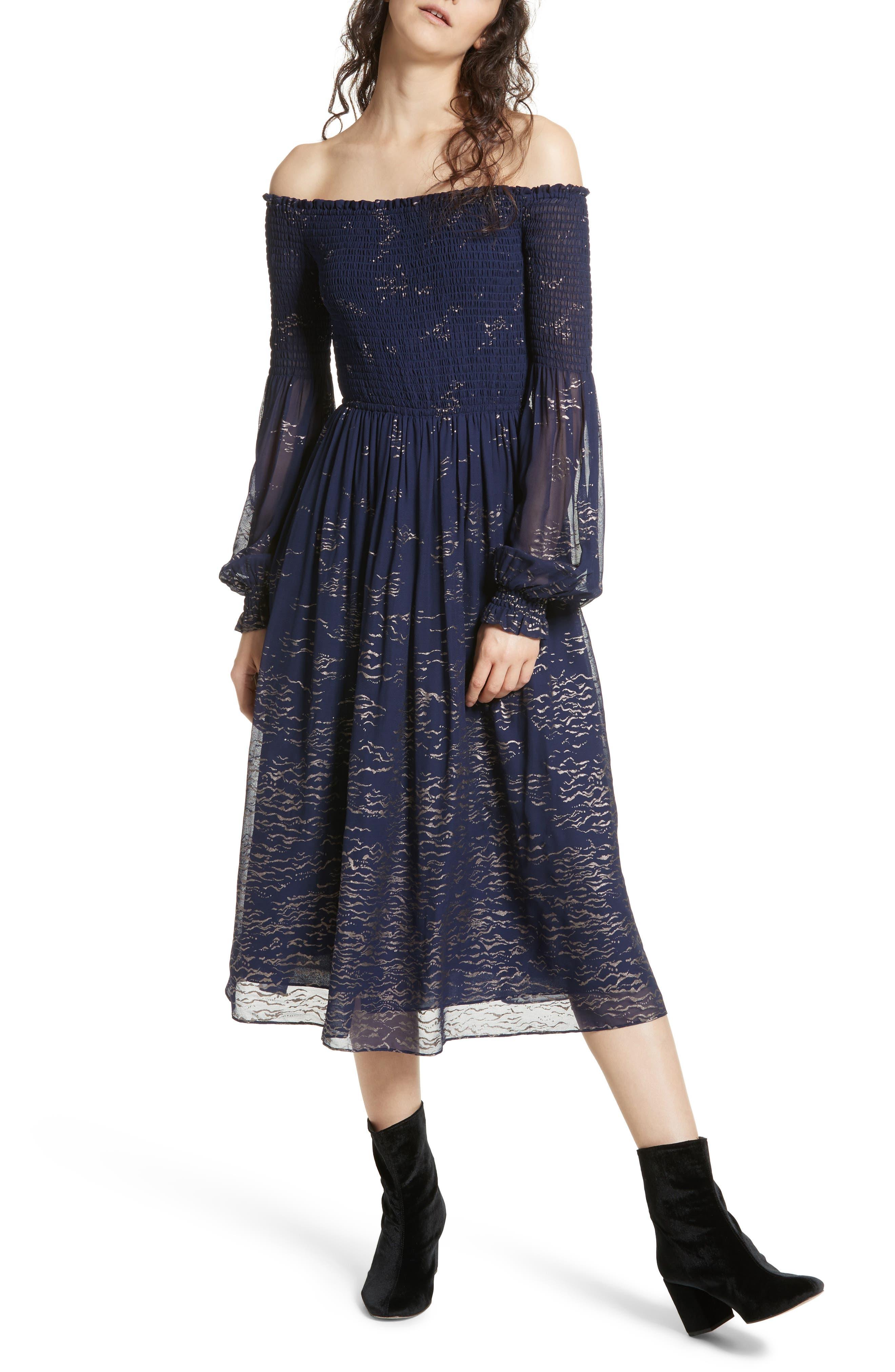 Foiled Smocked Midi Dress,                             Main thumbnail 1, color,                             400