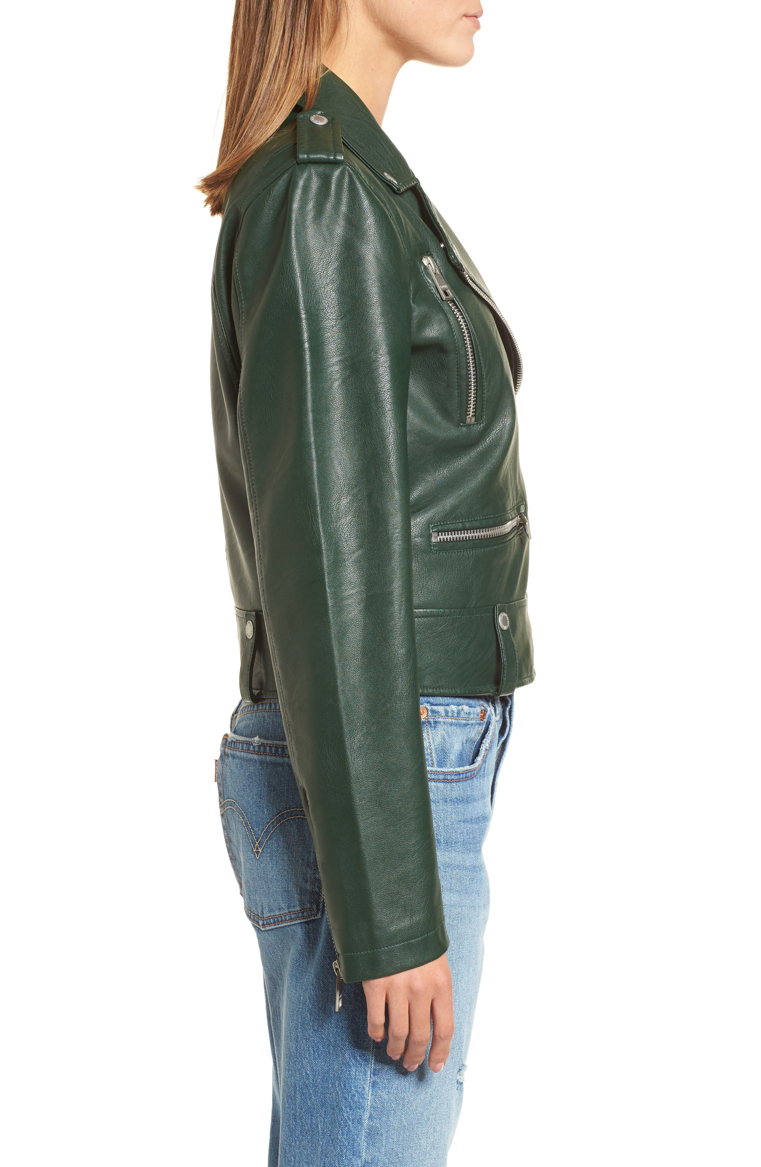 Faux Leather Moto Jacket,                             Alternate thumbnail 3, color,                             HUNTER GREEN