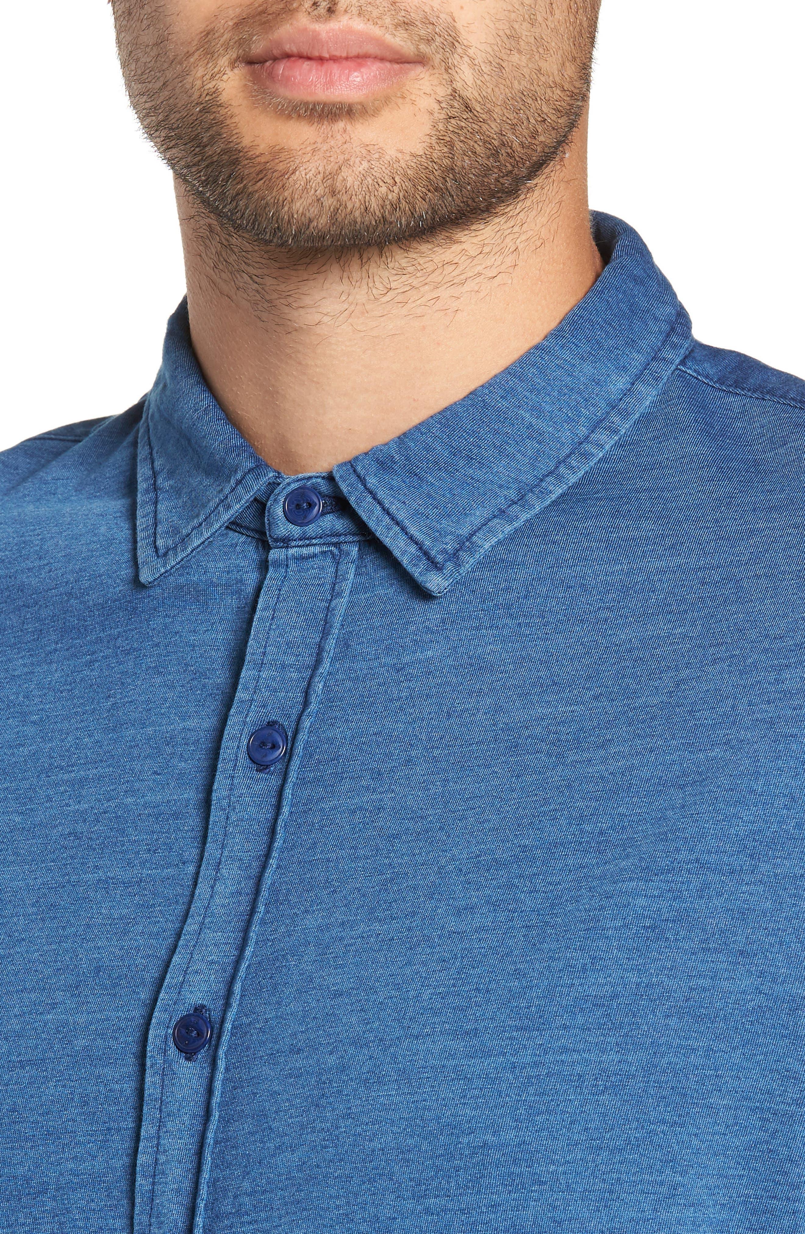 Knit Sport Shirt,                             Alternate thumbnail 4, color,                             MEDIUM INDIGO