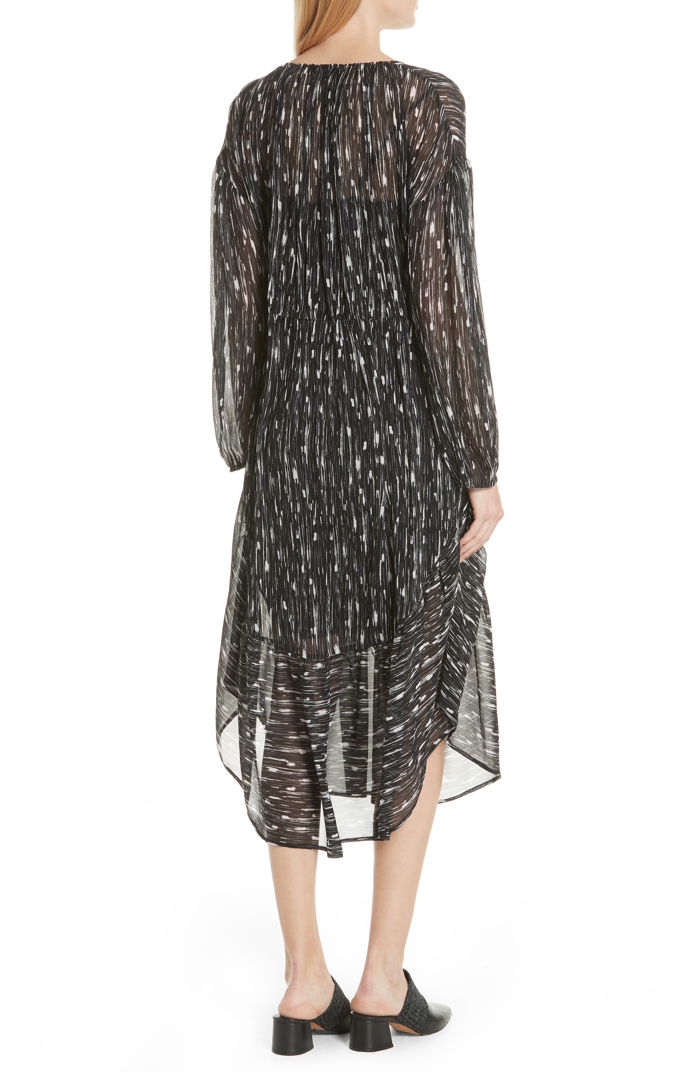 VINCE,                             Brushstroke Silk Chiffon Dress,                             Alternate thumbnail 2, color,                             001