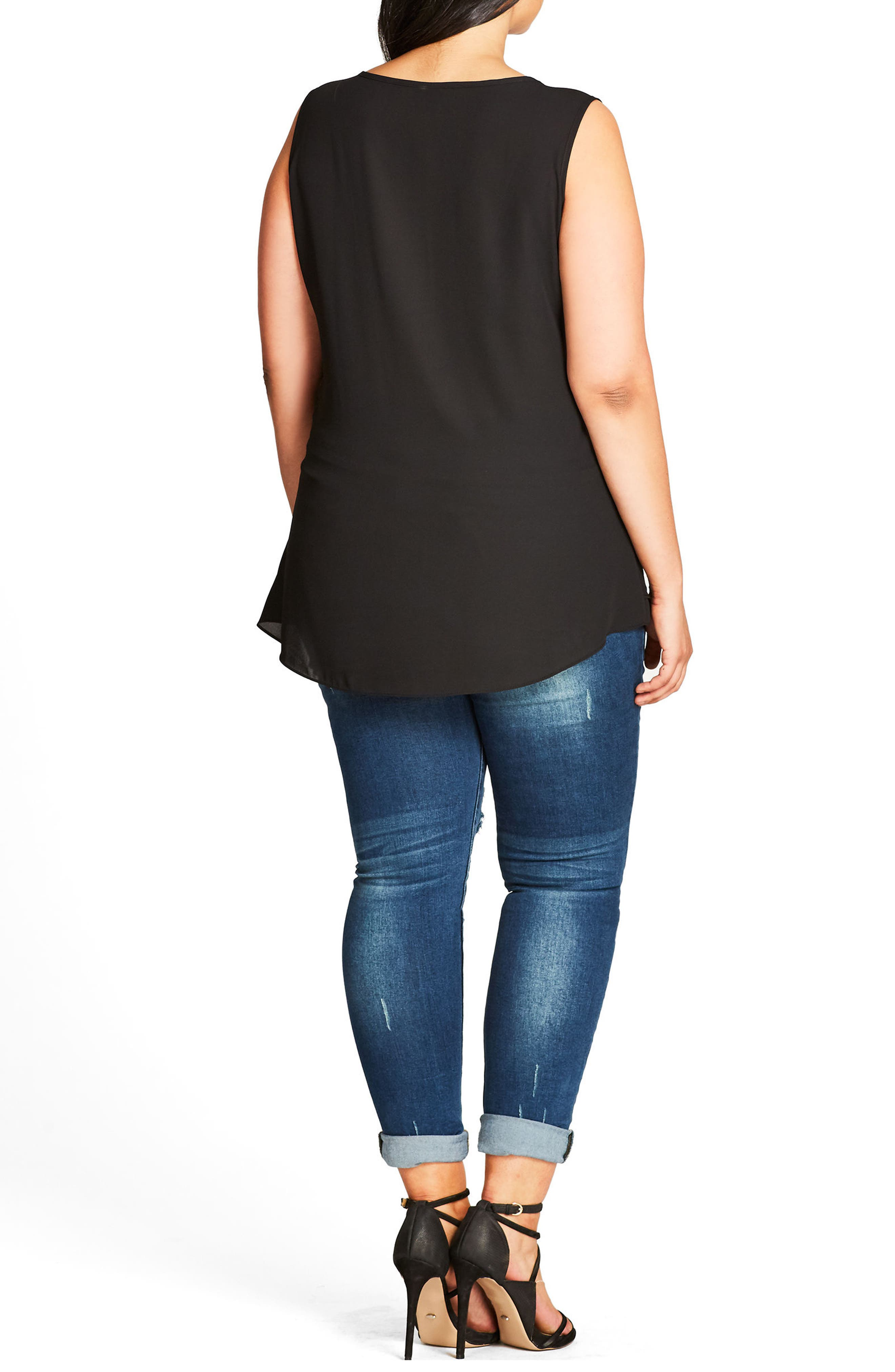 CITY CHIC,                             Sweet Zip Front Top,                             Alternate thumbnail 2, color,                             001