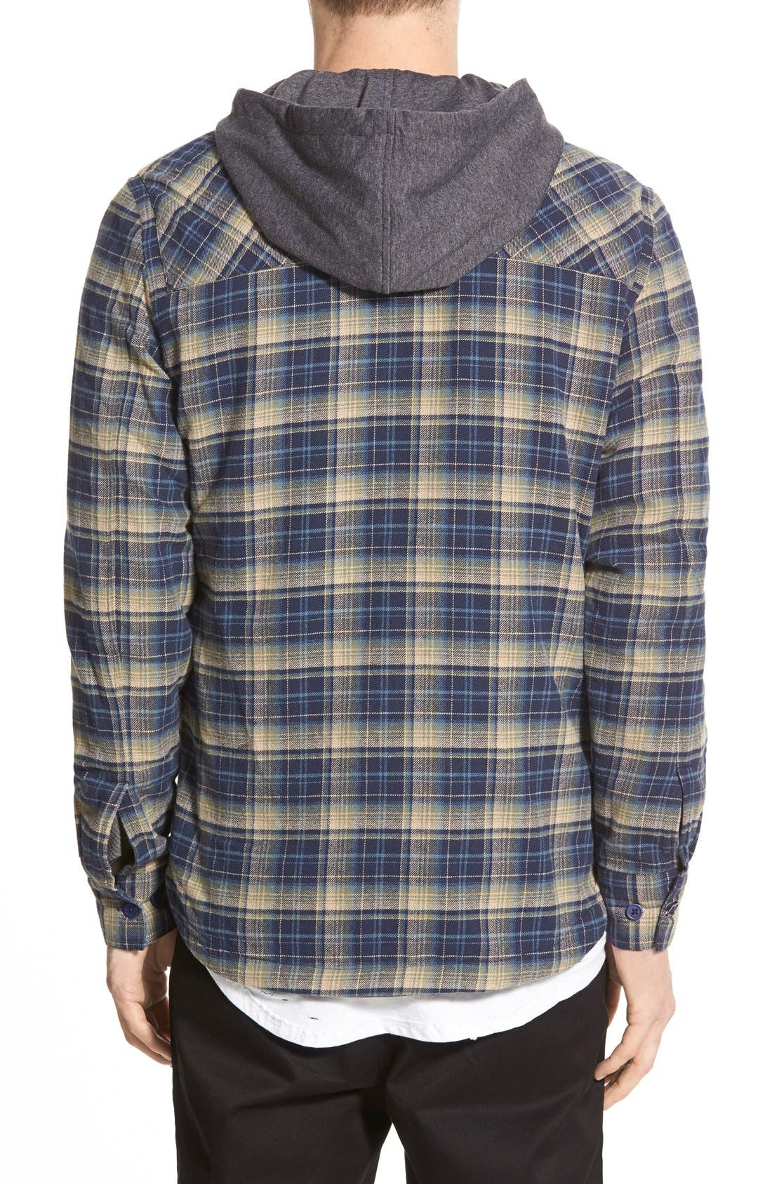 'Alford' Trim Fit Long Sleeve Plaid Hooded Shirt,                             Alternate thumbnail 12, color,