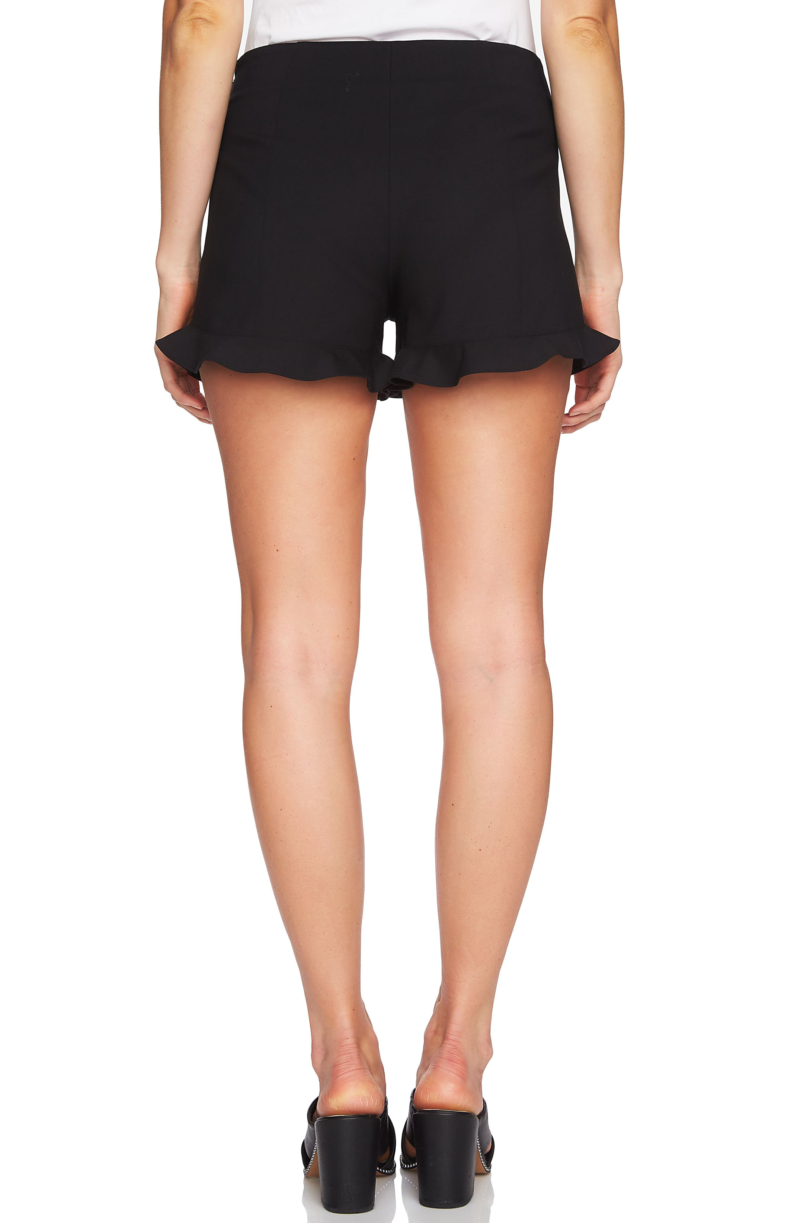 Ruffle Hem Flat Front Shorts,                             Alternate thumbnail 2, color,                             RICH BLACK