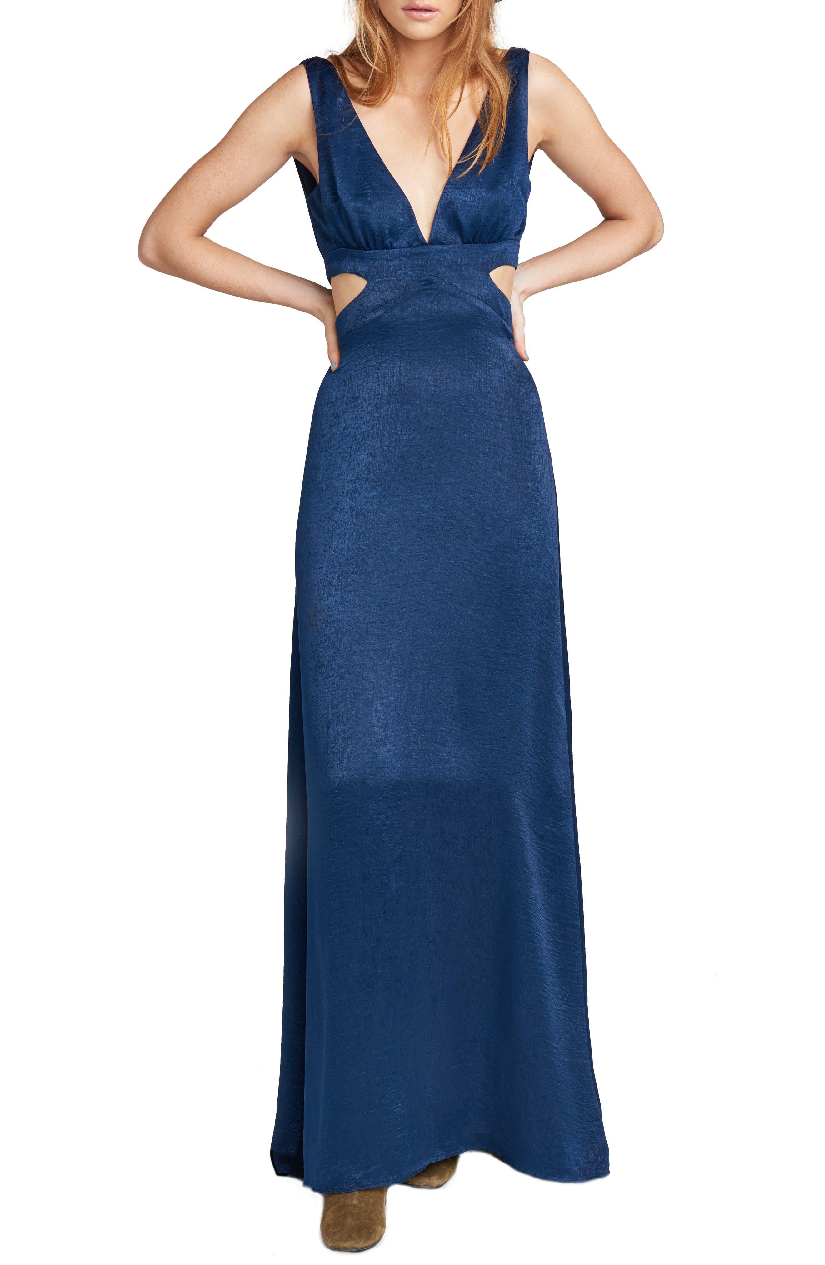 Show Me Your Mumu Cutout Sheen Gown, Blue