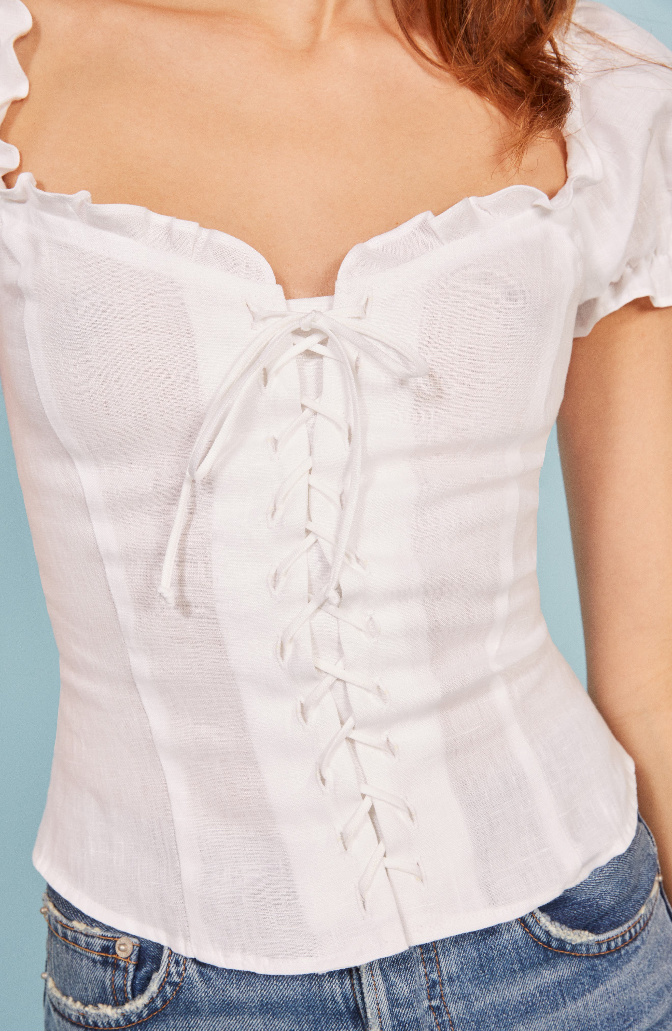 REFORMATION,                             Cassidy Corset Top,                             Alternate thumbnail 4, color,                             100