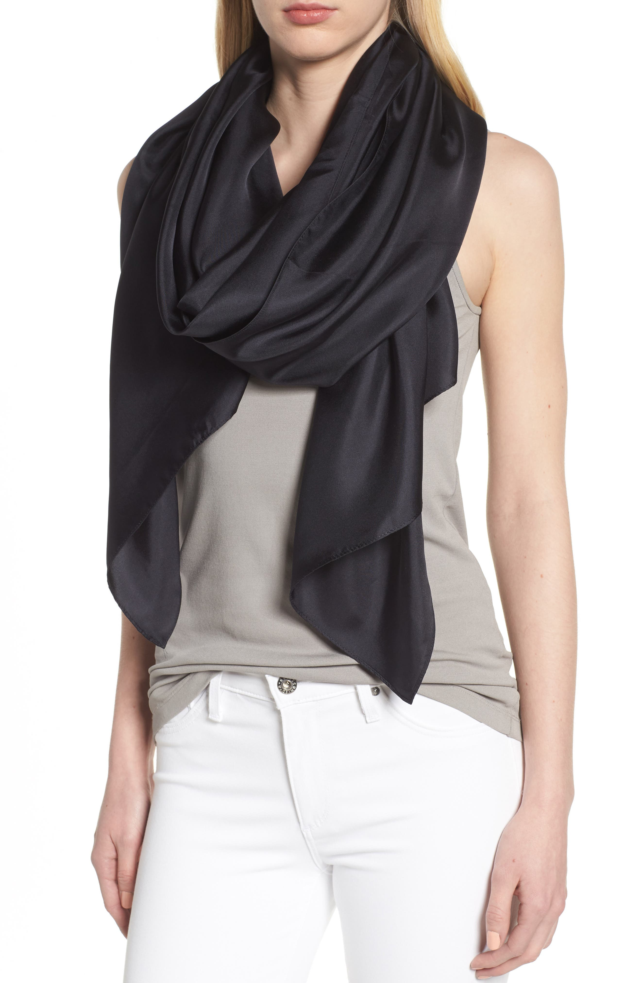 Everyday Silk Wrap,                             Alternate thumbnail 4, color,                             BLACK