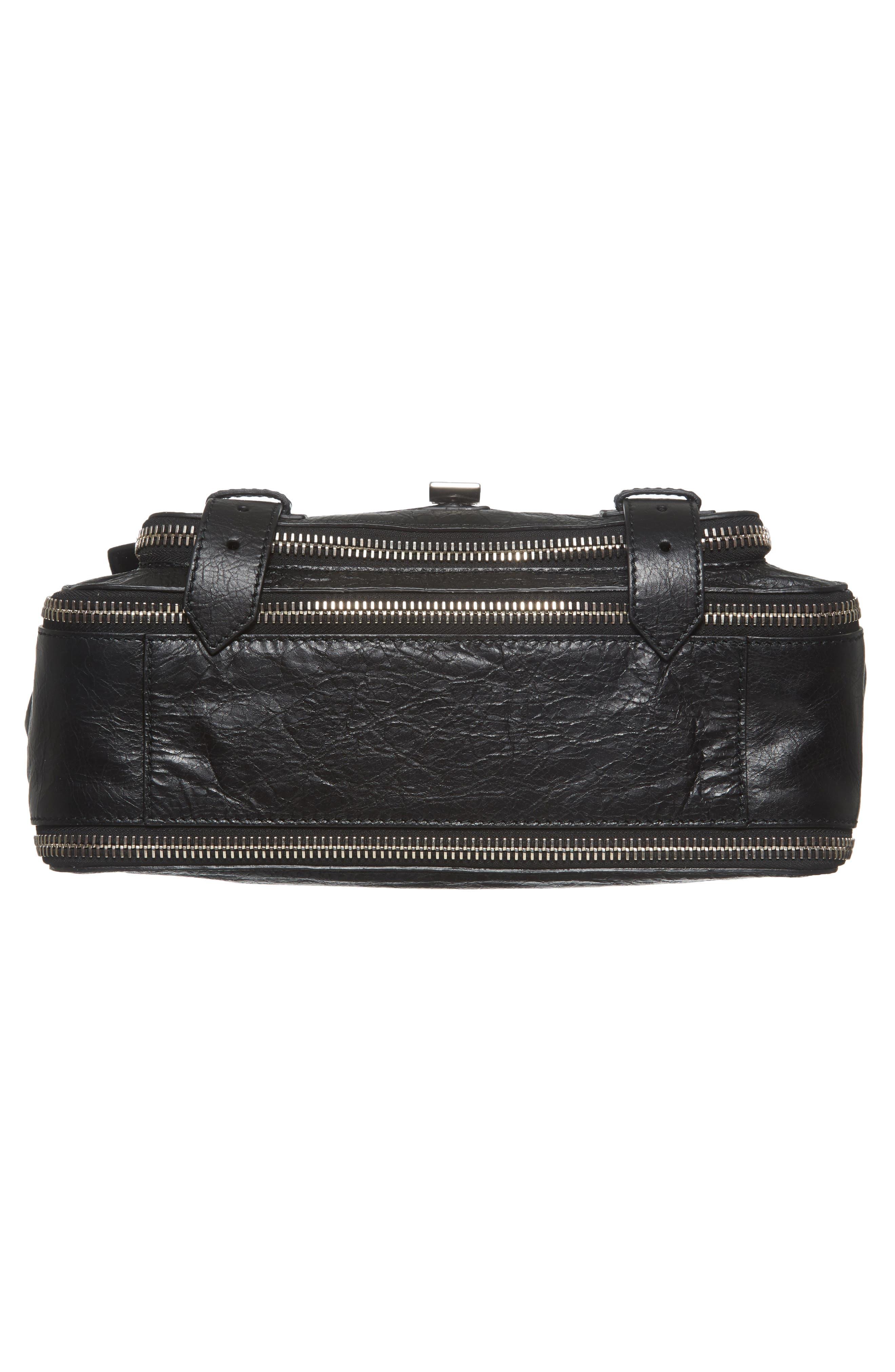 Medium PS1 Paper Leather Satchel,                             Alternate thumbnail 6, color,                             BLACK