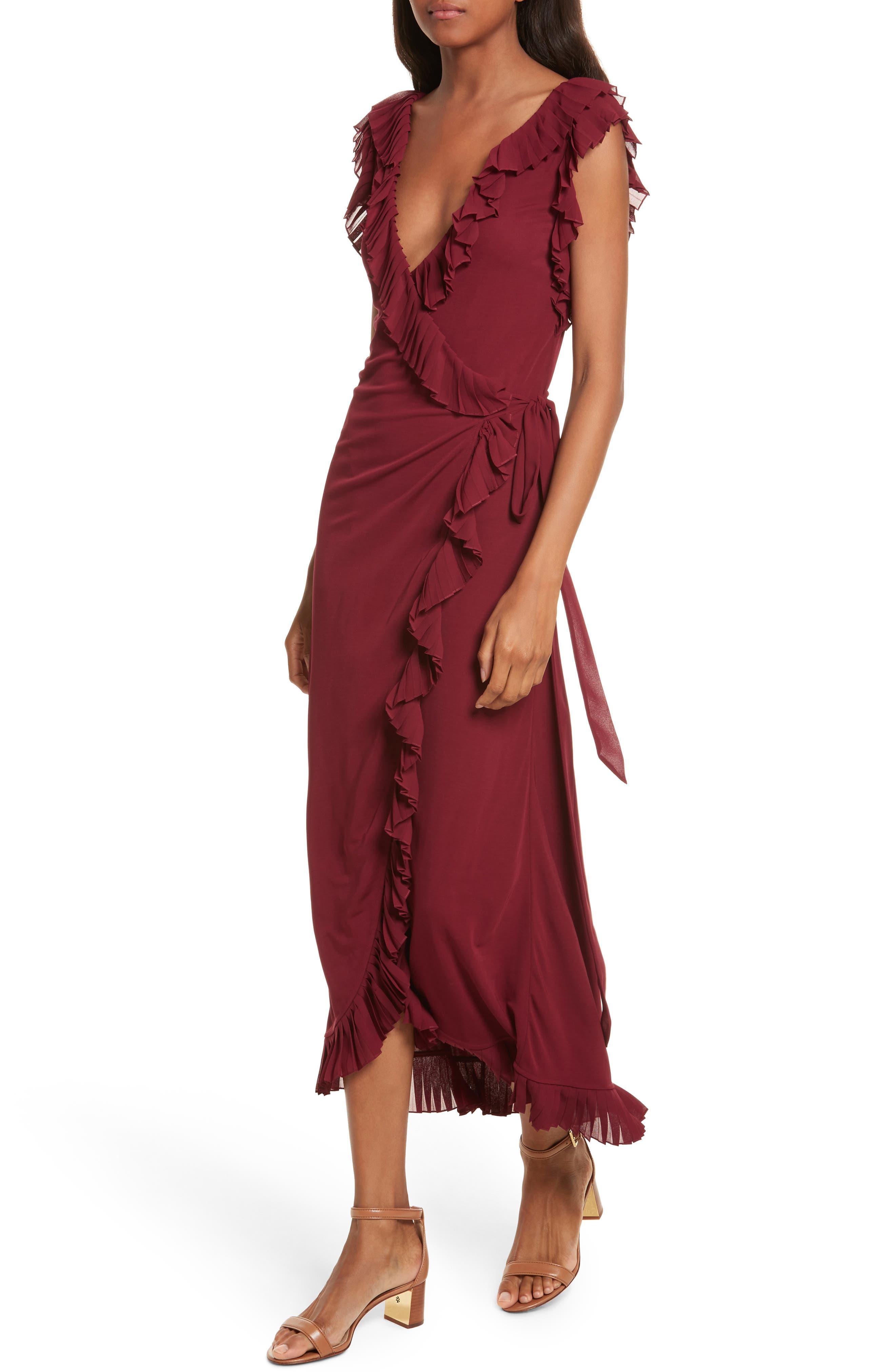 Whitney Wrap Midi Dress,                             Alternate thumbnail 4, color,