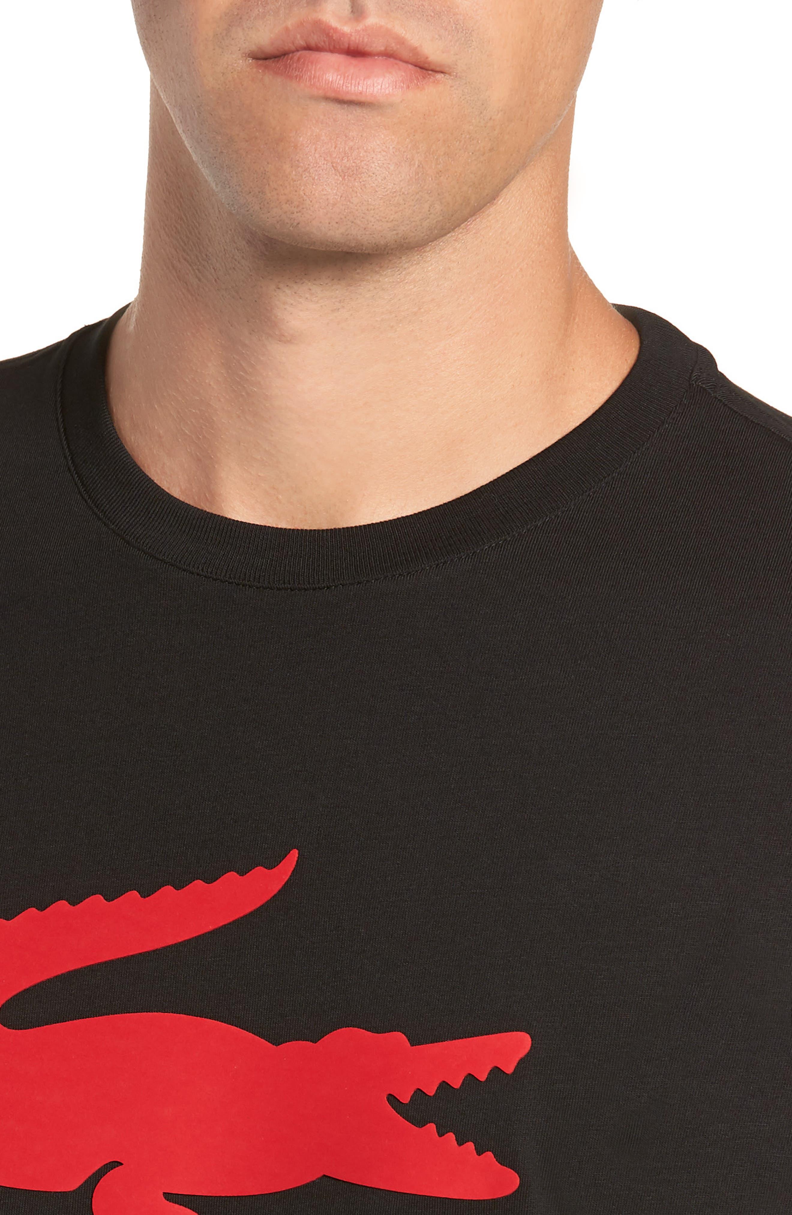 Crocodile T-Shirt,                             Alternate thumbnail 4, color,                             BLACK/ RED