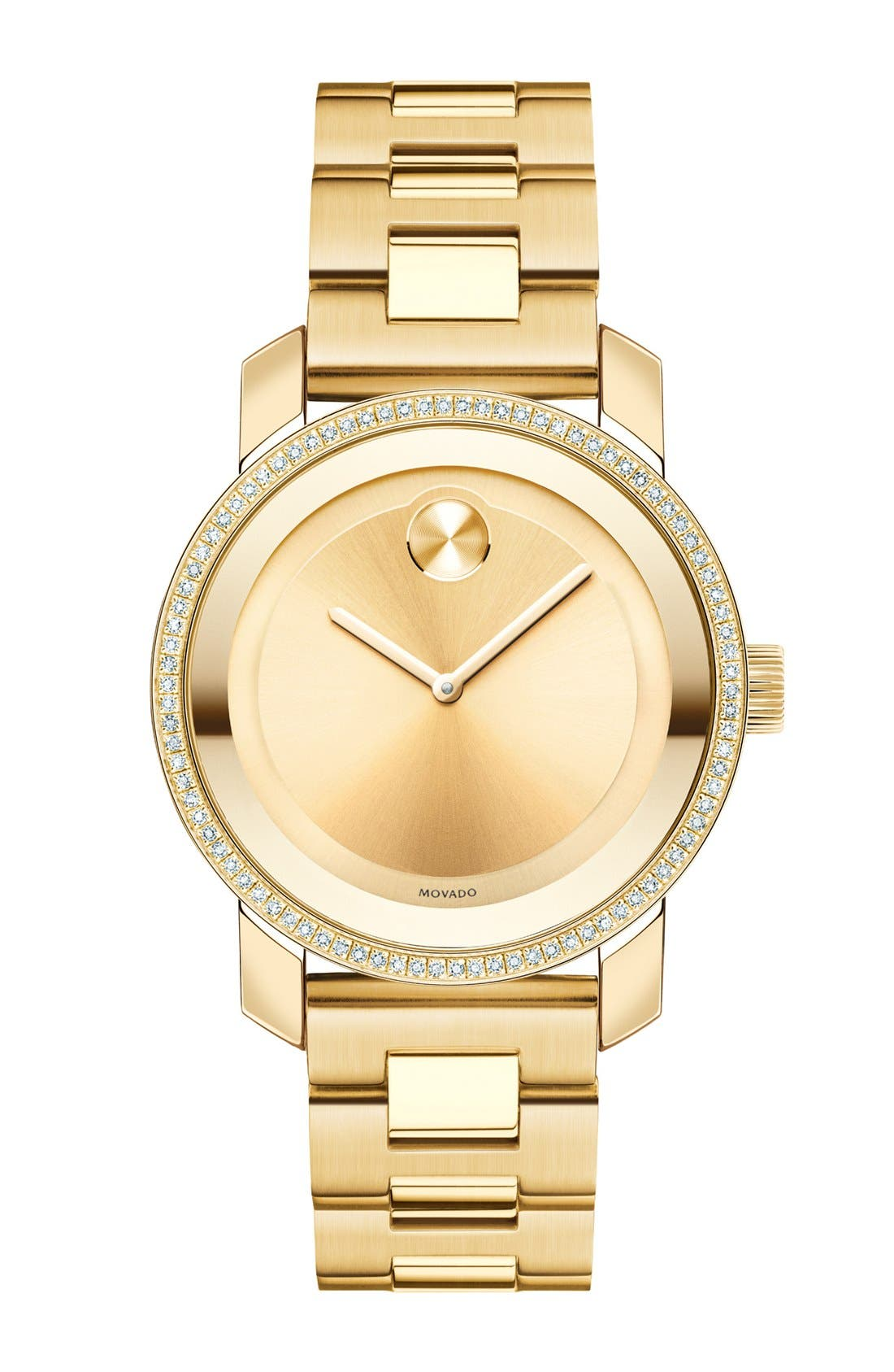 'Bold' Diamond Bezel Bracelet Watch, 36mm,                             Main thumbnail 1, color,                             GOLD