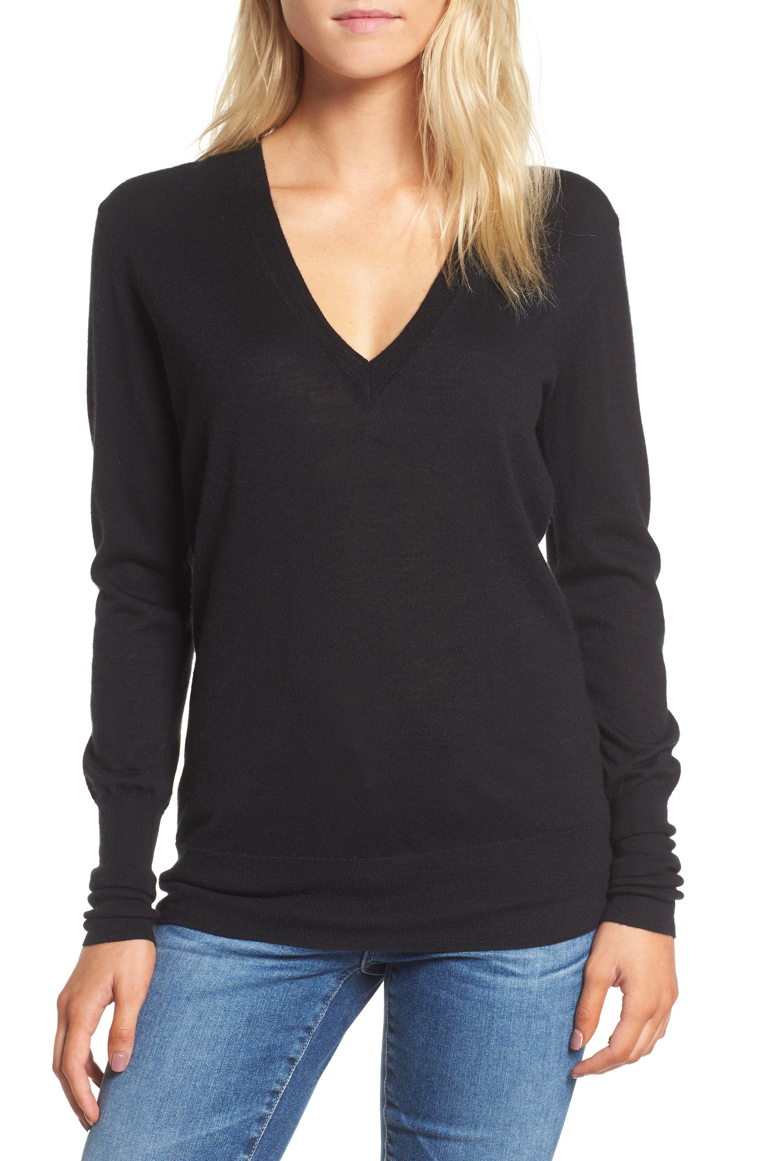 Uma V-Neck Cashmere Sweater,                             Main thumbnail 1, color,                             001