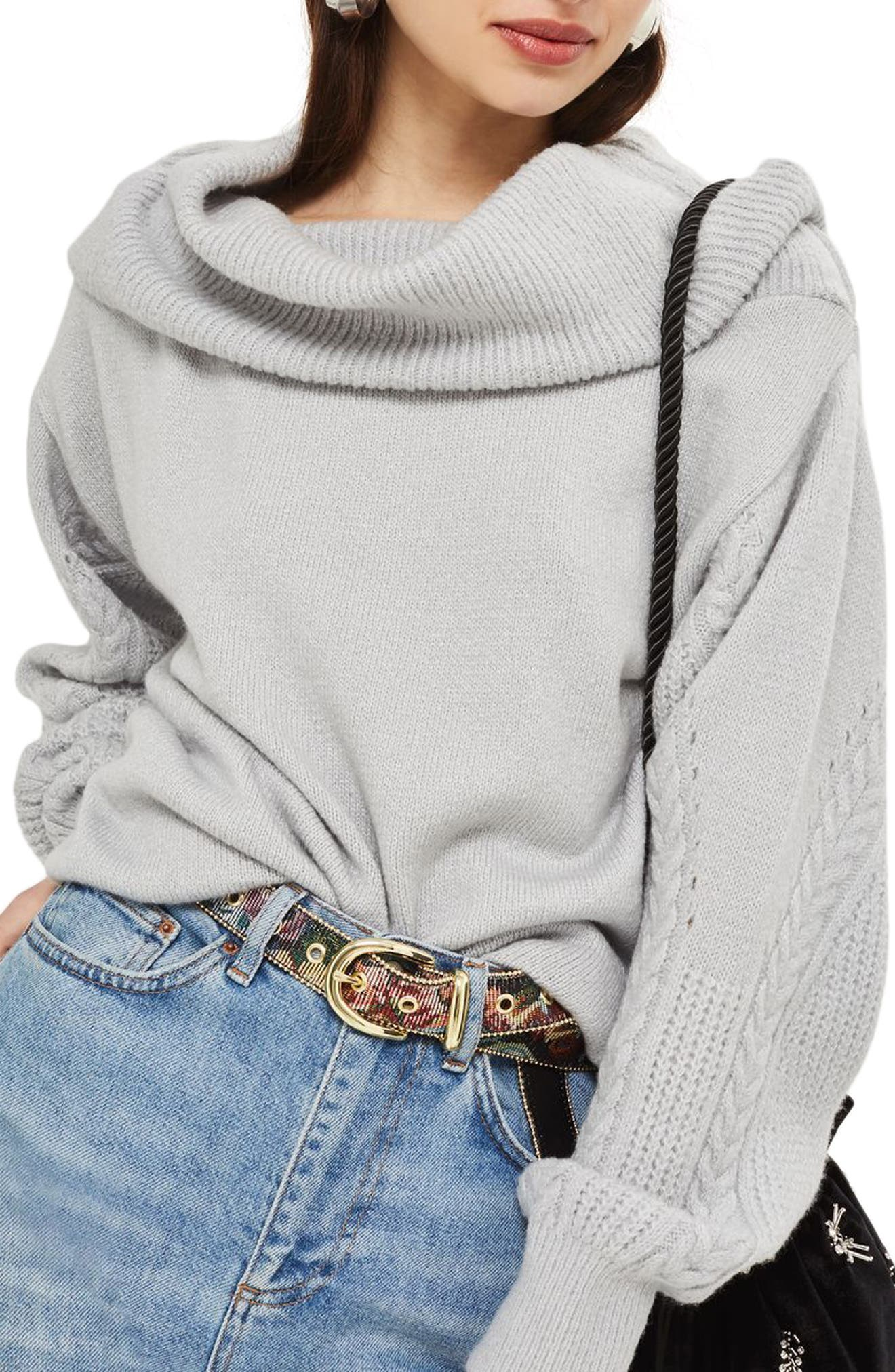 Cable Sleeve Cowl Neck Sweater,                             Main thumbnail 1, color,                             050