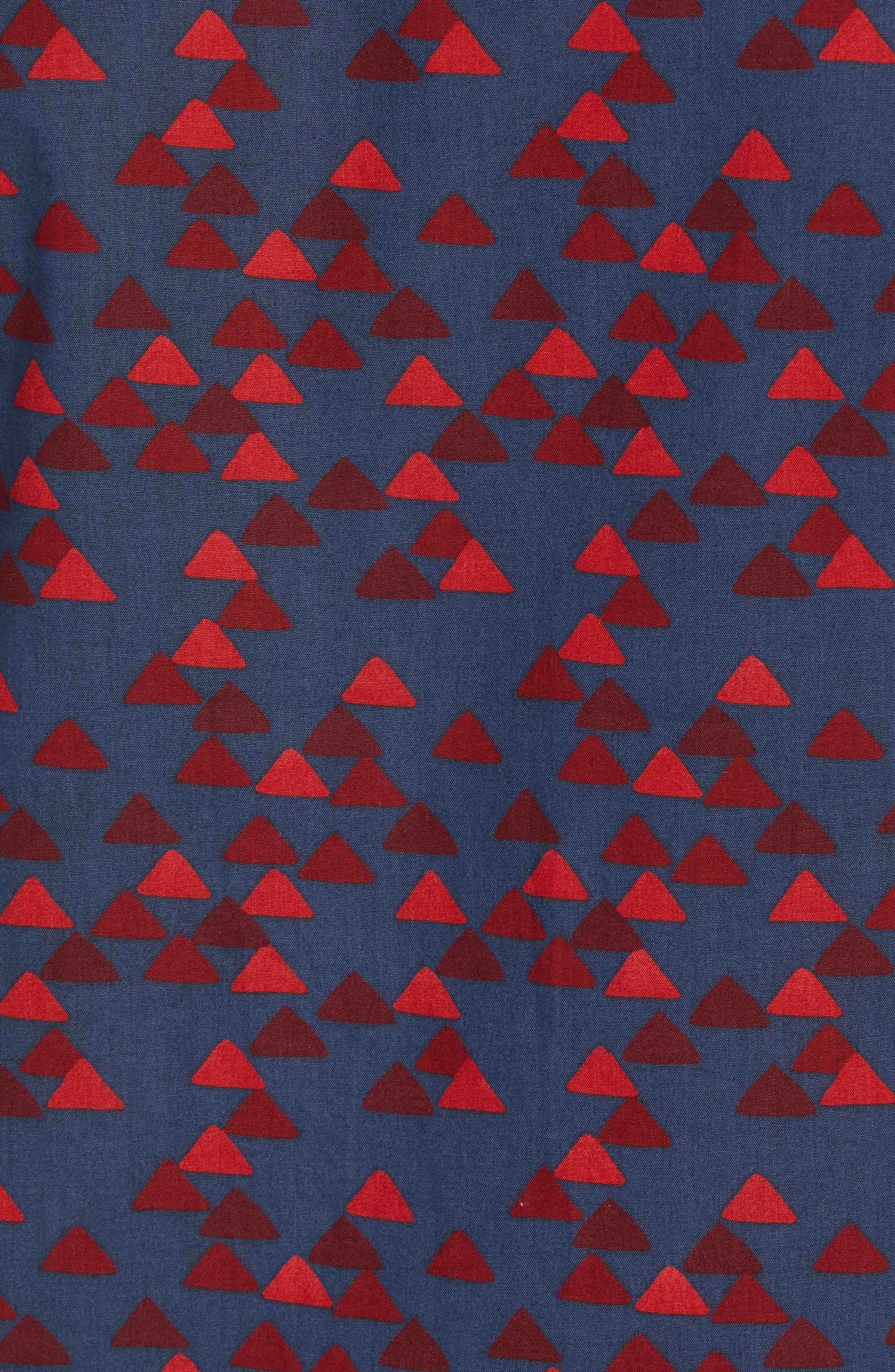 Ivy Trim Fit Print Sport Shirt,                             Alternate thumbnail 5, color,                             NAVY IRIS BURGUNDY TRIANGLES