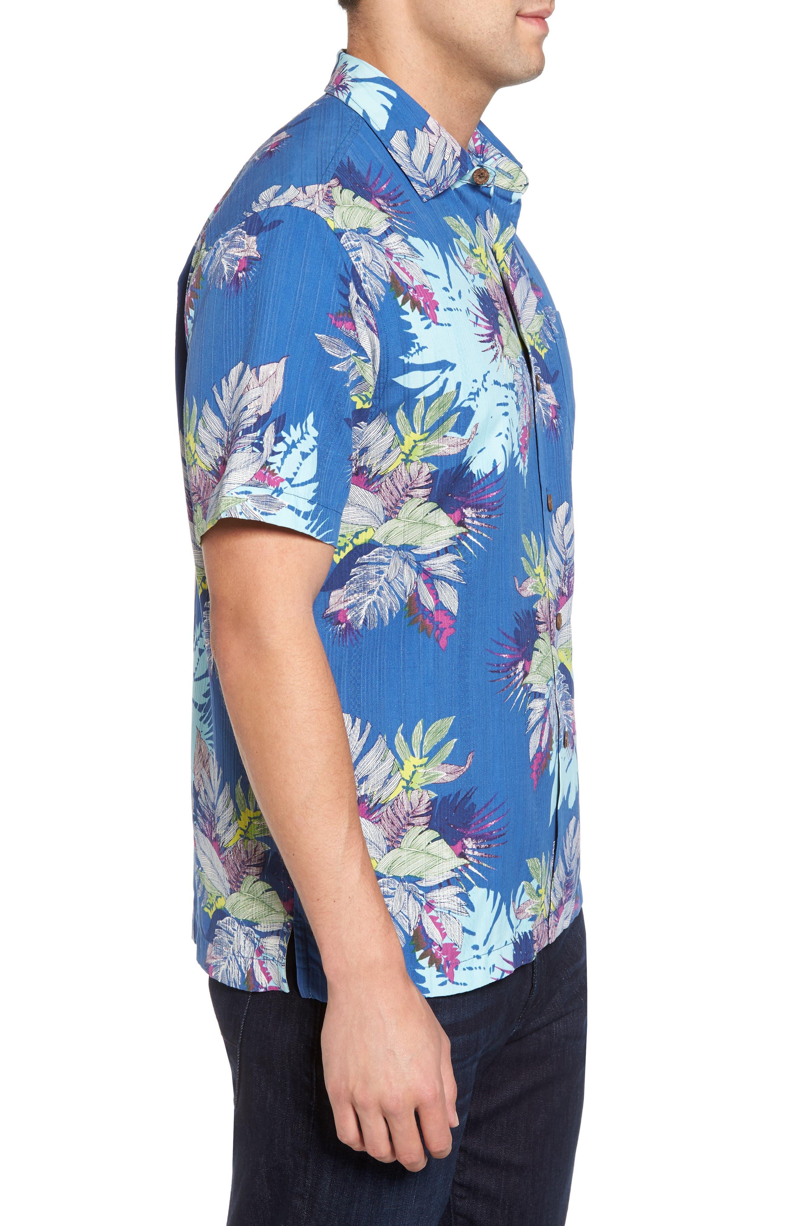 Fronds Bouquet Classic Fit Silk Blend Sport Shirt,                             Alternate thumbnail 3, color,                             400