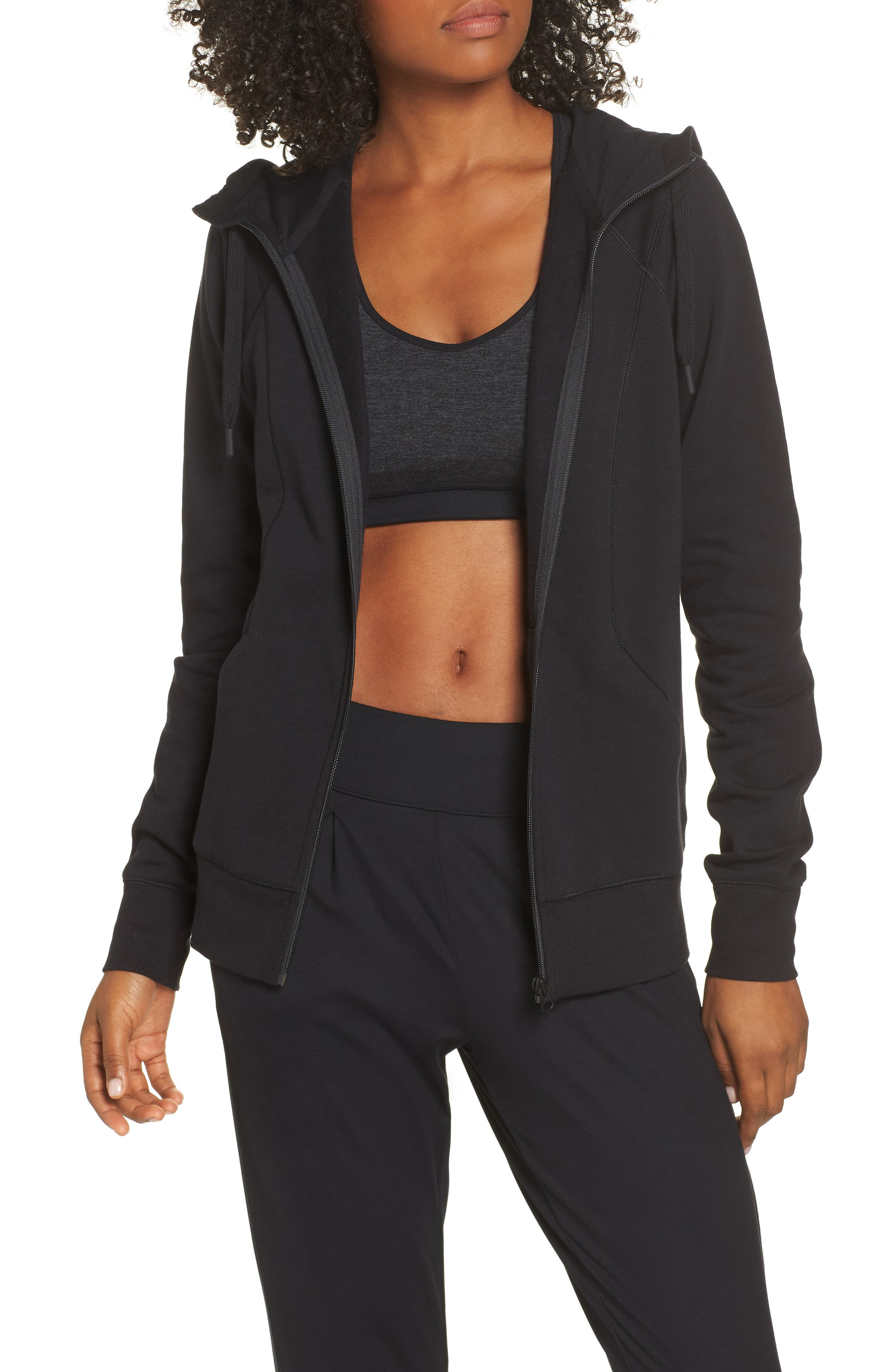 Outta Town Zip Hoodie,                         Main,                         color, BLACK