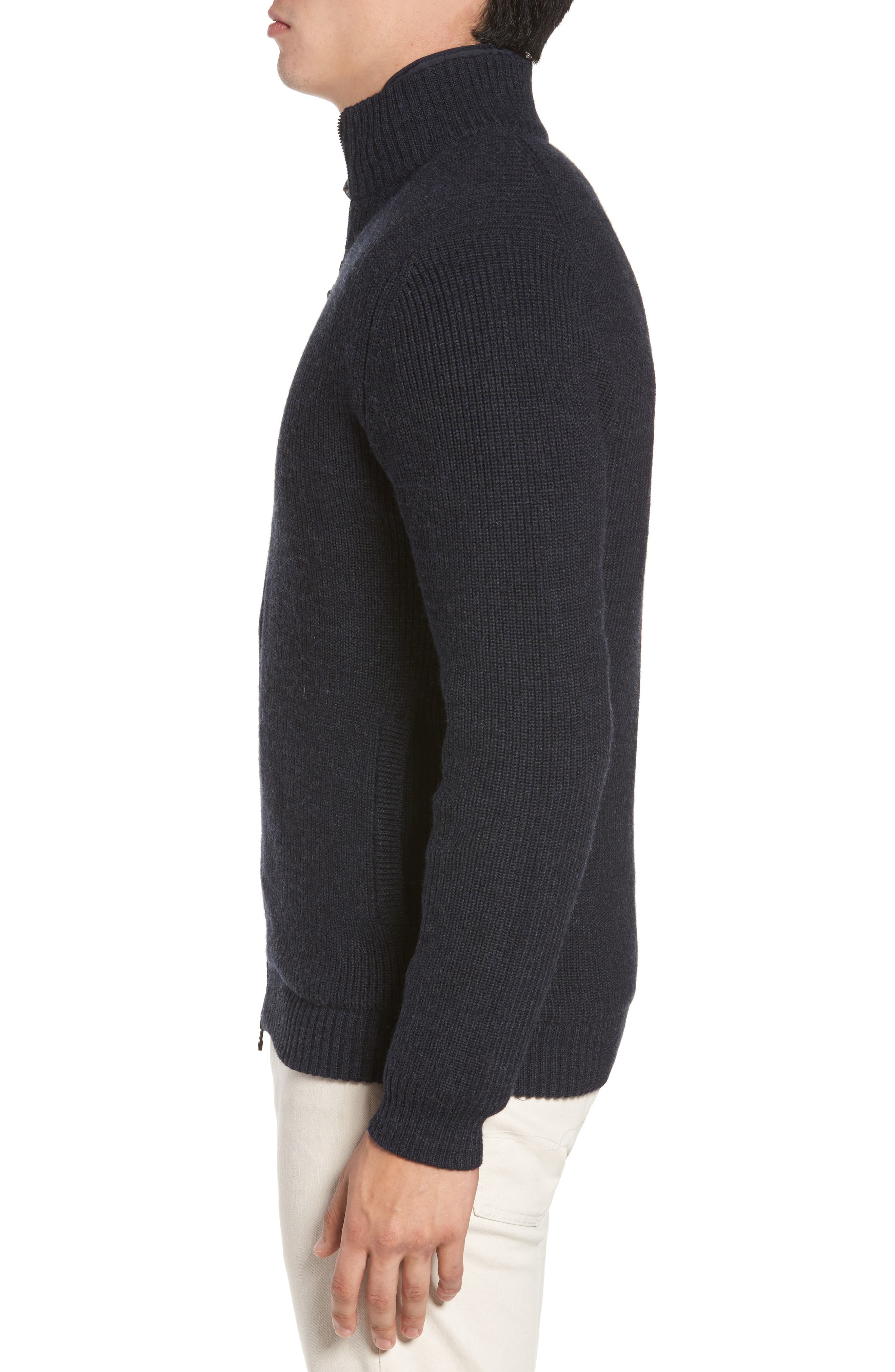 Camerons Track Zip Wool Sweater,                             Alternate thumbnail 3, color,                             MIDNIGHT