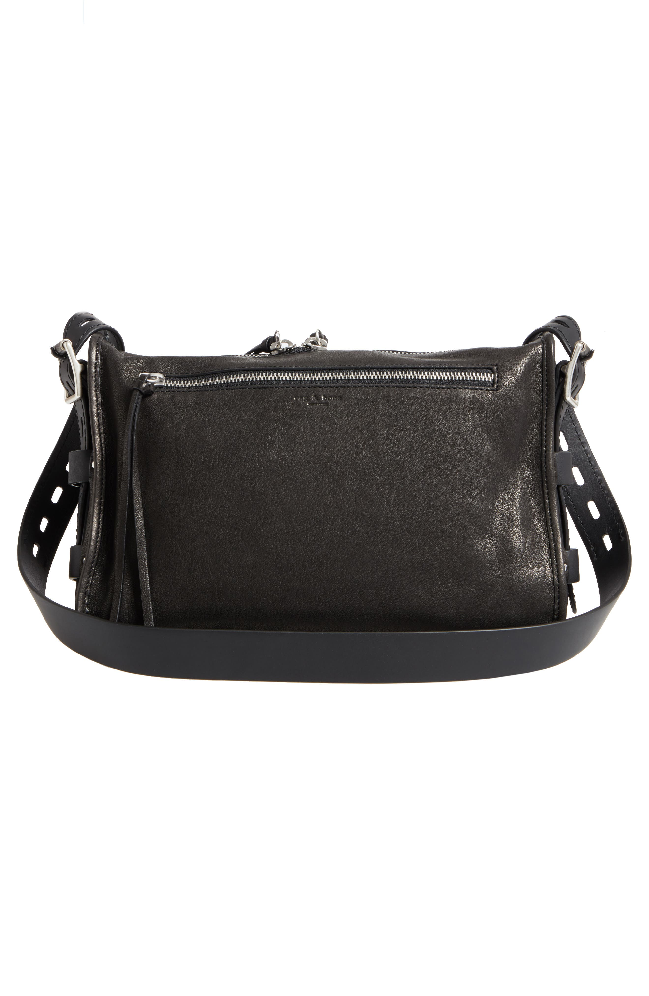 Field Leather Messenger Bag,                             Alternate thumbnail 3, color,                             BLACK