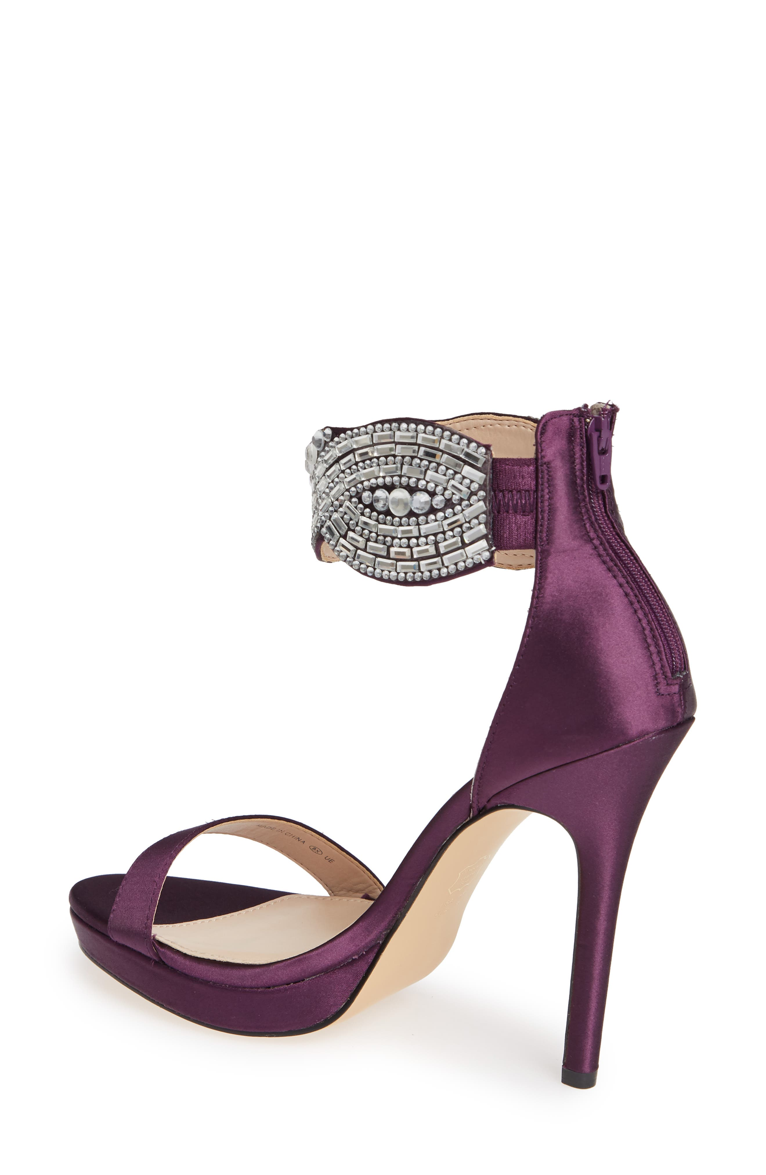 Fayth Jeweled Ankle Cuff Sandal,                             Alternate thumbnail 2, color,                             EGGPLANT SATIN