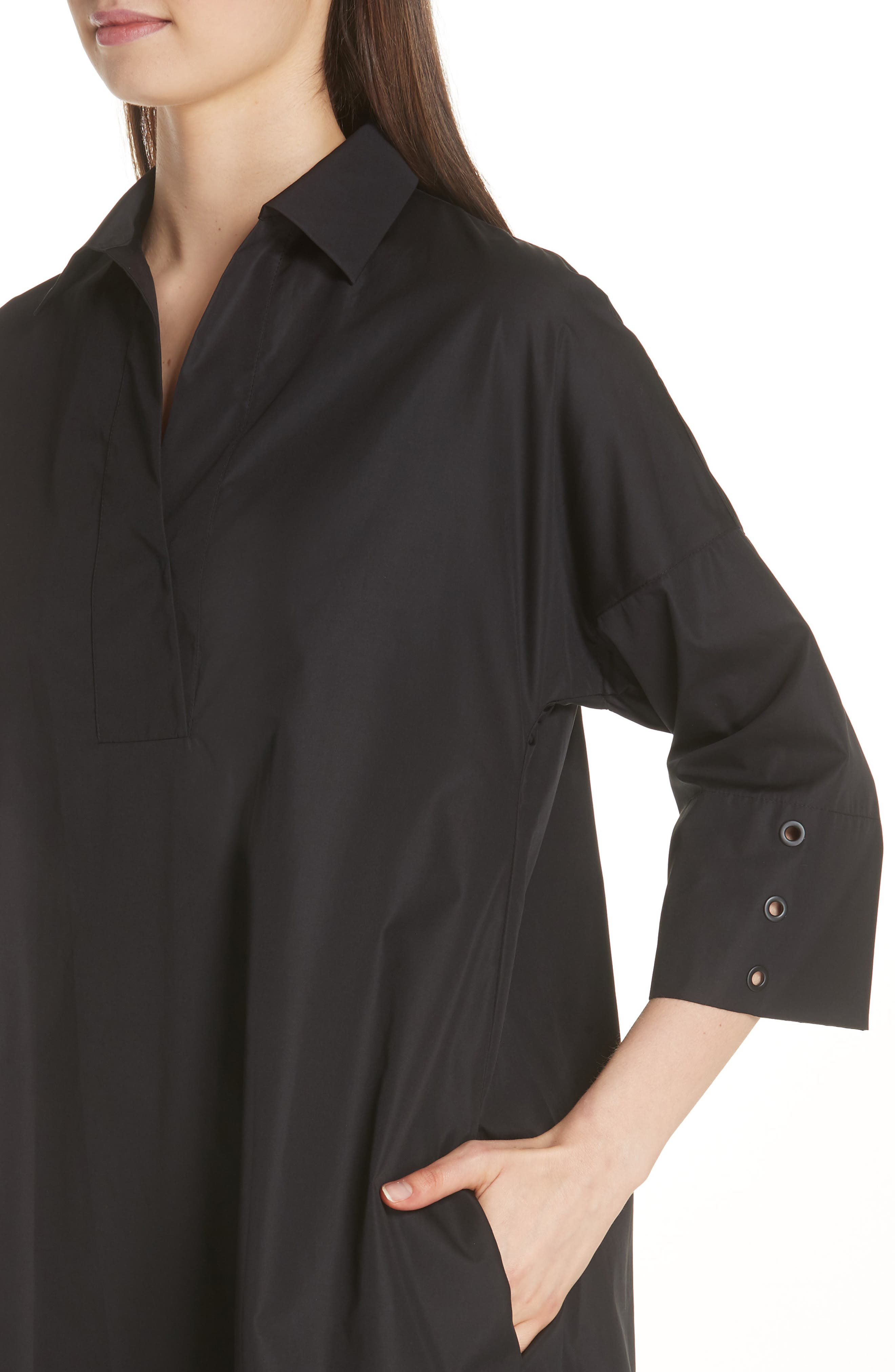 Eyelet Detail Cotton Dress,                             Alternate thumbnail 4, color,                             BLACK