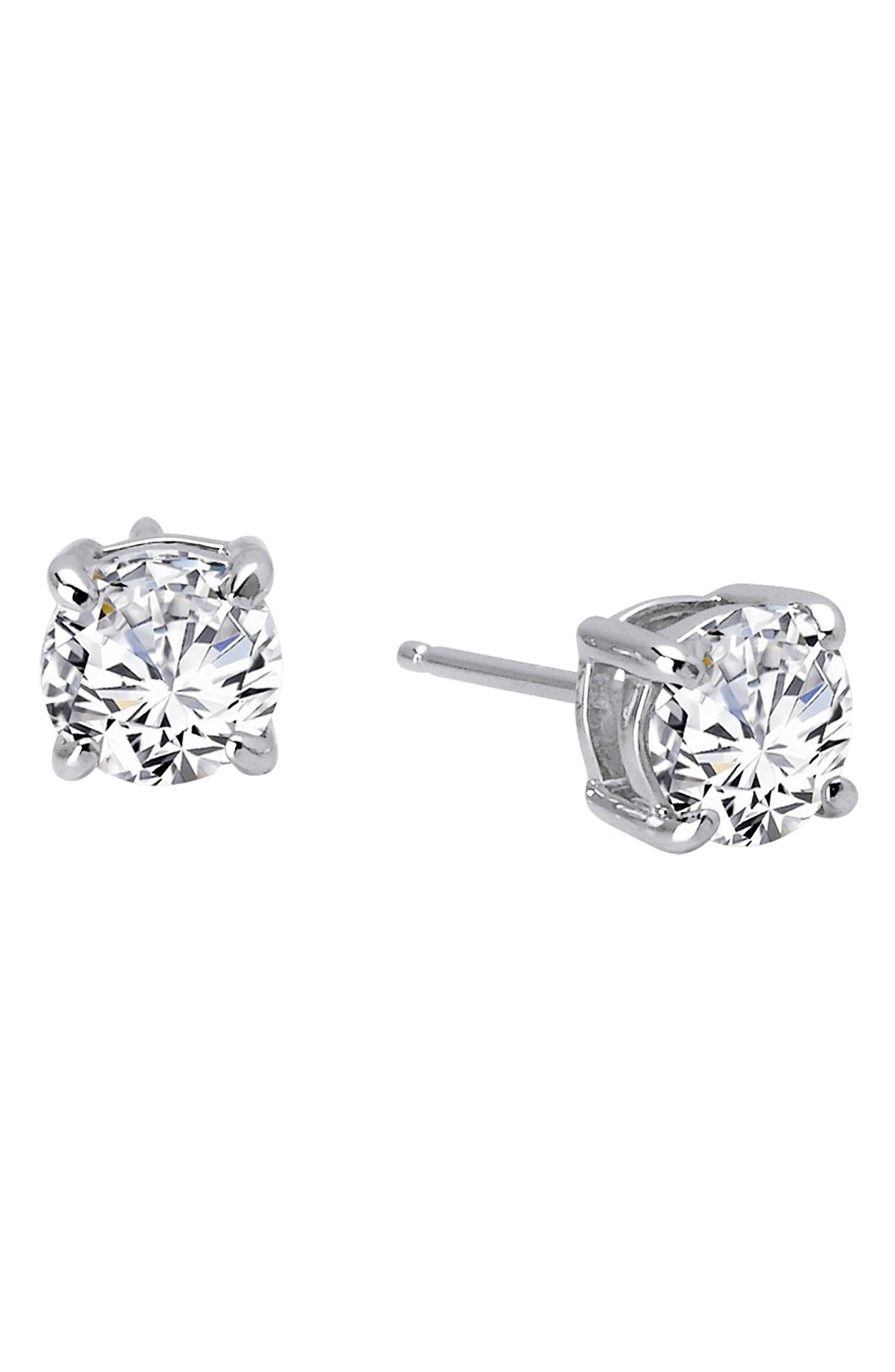 Simulated Diamond Stud Earrings,                             Alternate thumbnail 3, color,                             SILVER/ CLEAR