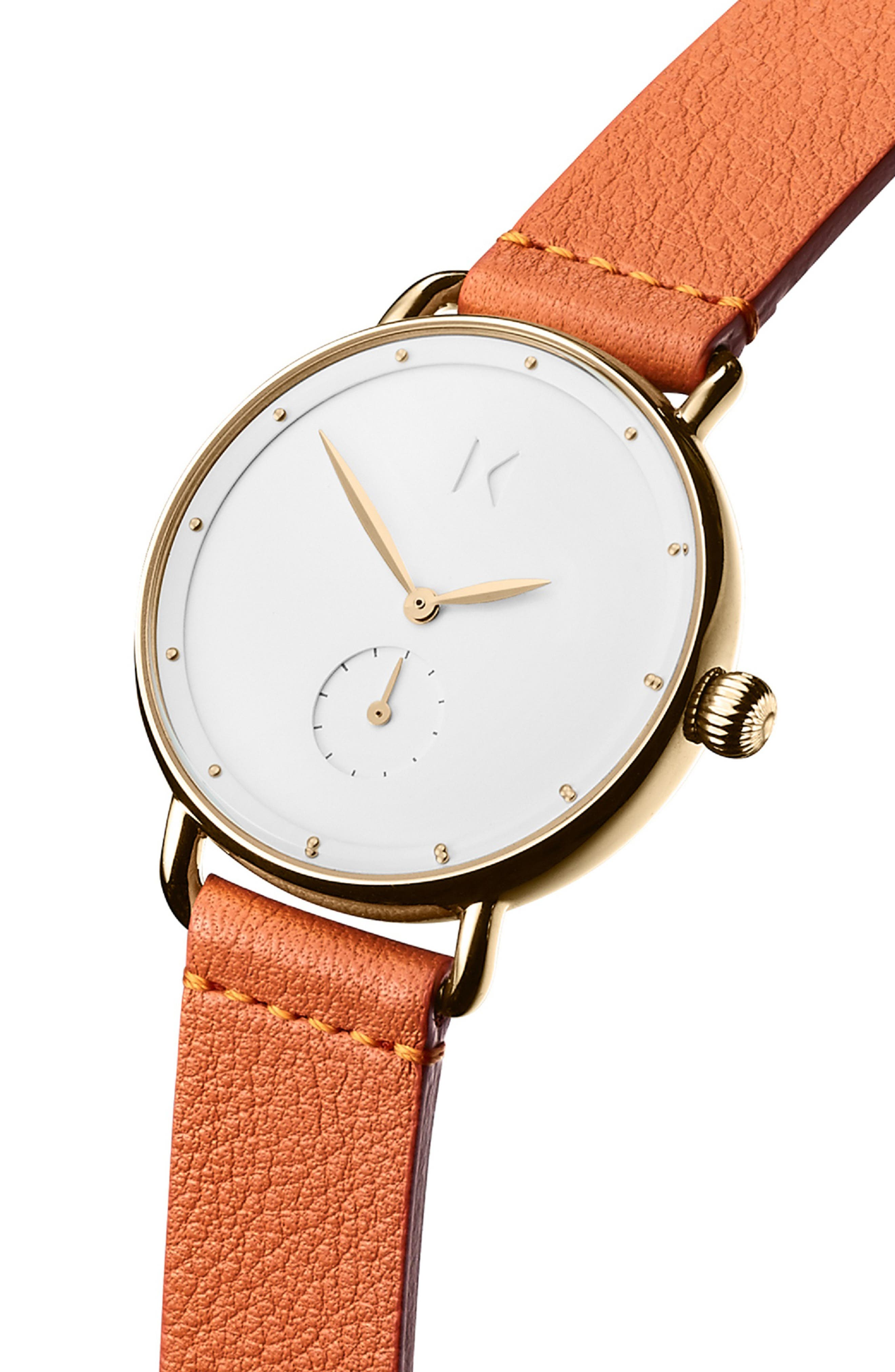 MVMT Bloom Leather Strap Watch, 36mm, Main, color, ORANGE/ WHITE/ GOLD