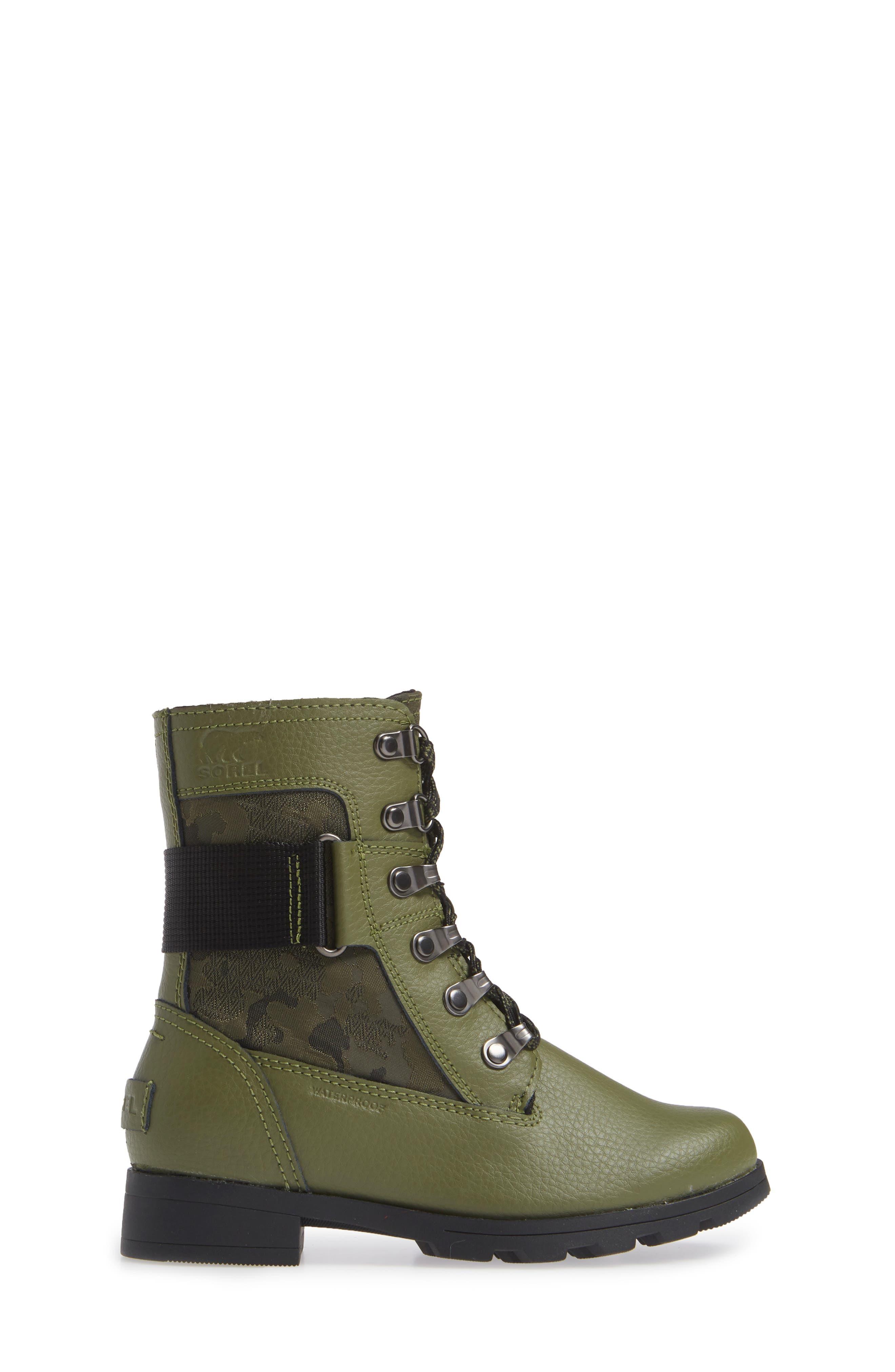 Emelie Waterproof Boot,                             Alternate thumbnail 3, color,                             HIKER GREEN/ BLACK