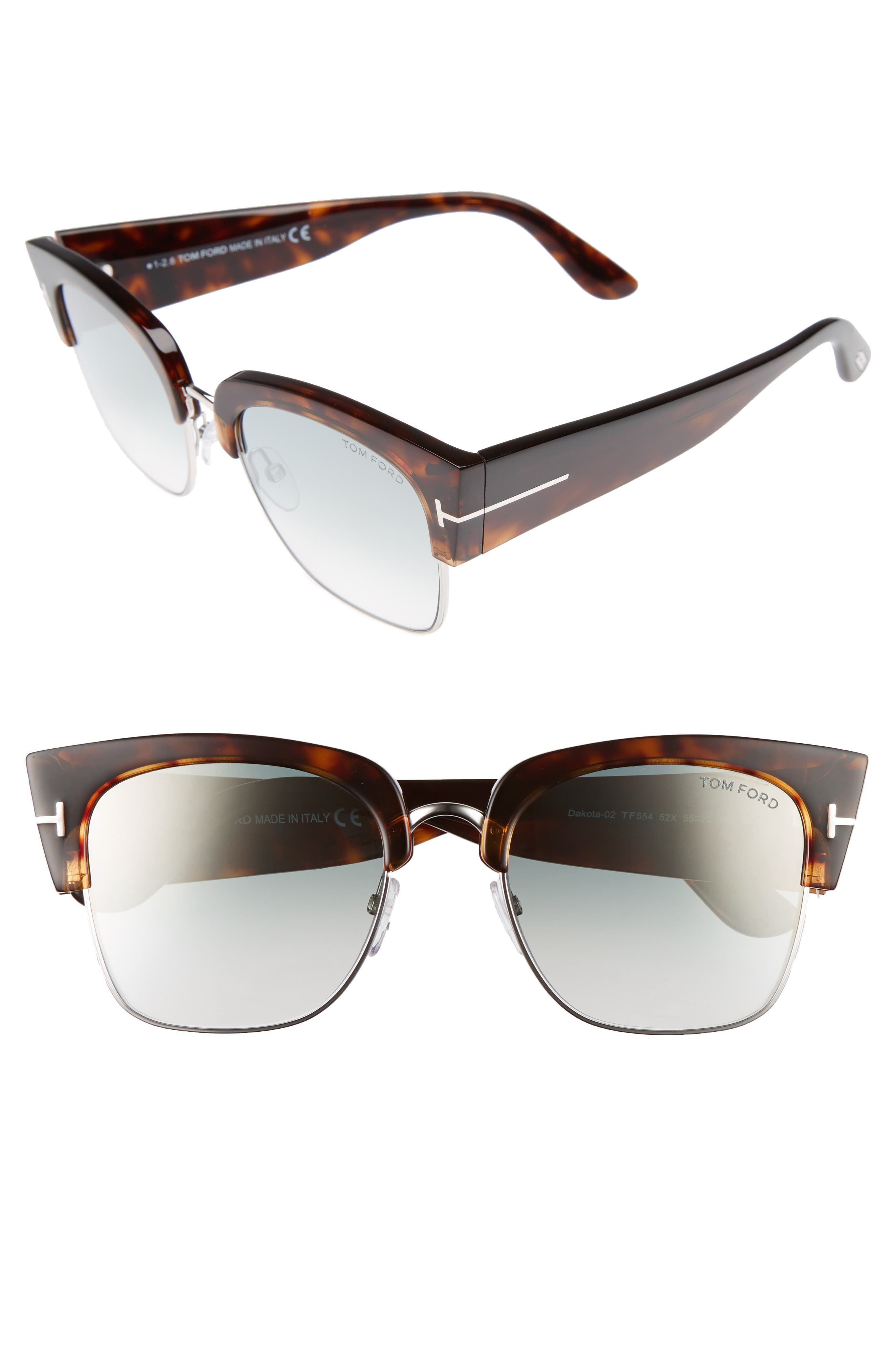 Dakota 55mm Gradient Square Sunglasses,                             Main thumbnail 1, color,                             DARK HAVANA/ BLUE MIRROR