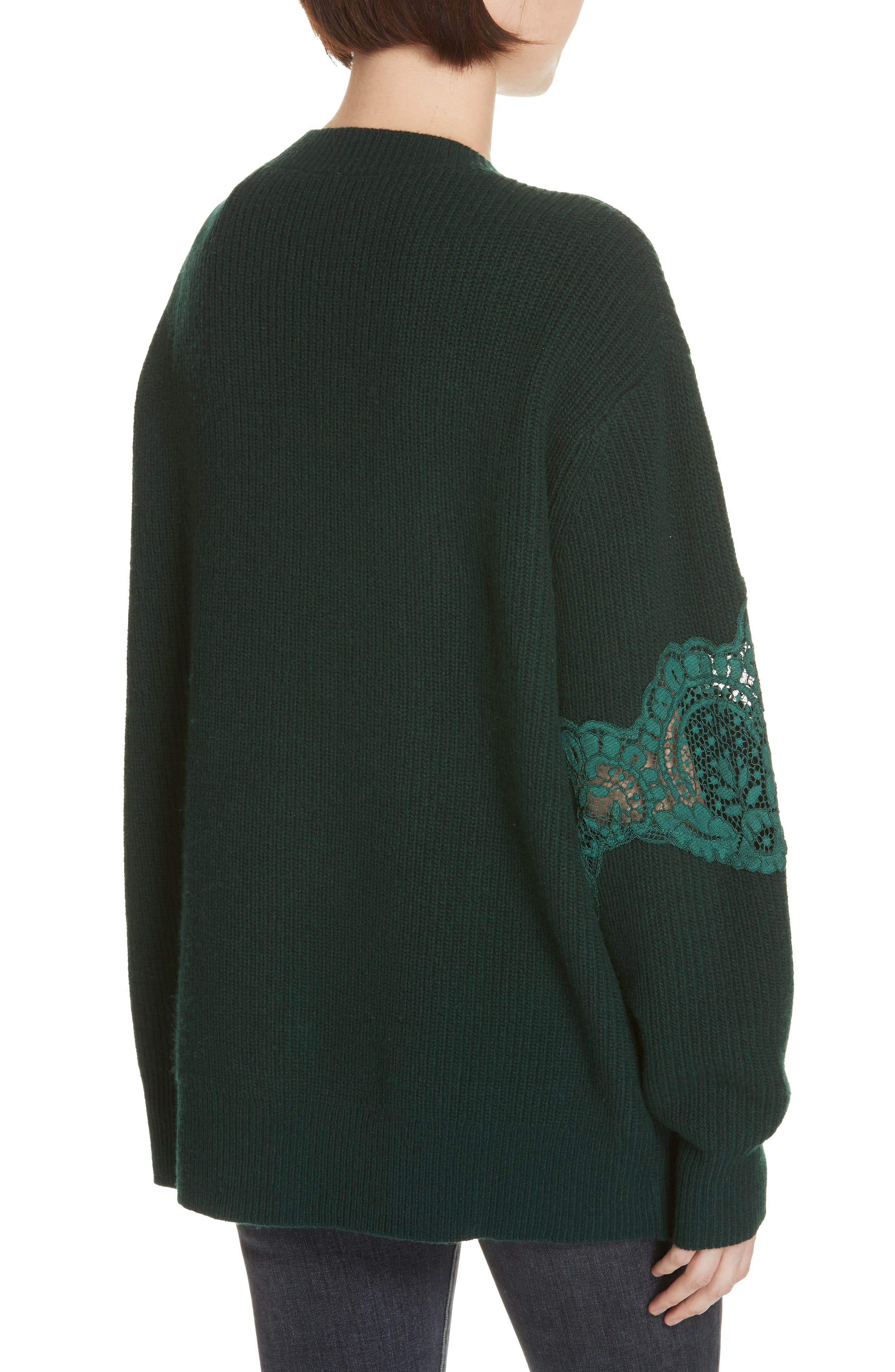 Tower Lace Inset Wool Blend Cardigan,                             Alternate thumbnail 2, color,                             BOTTLE GREEN