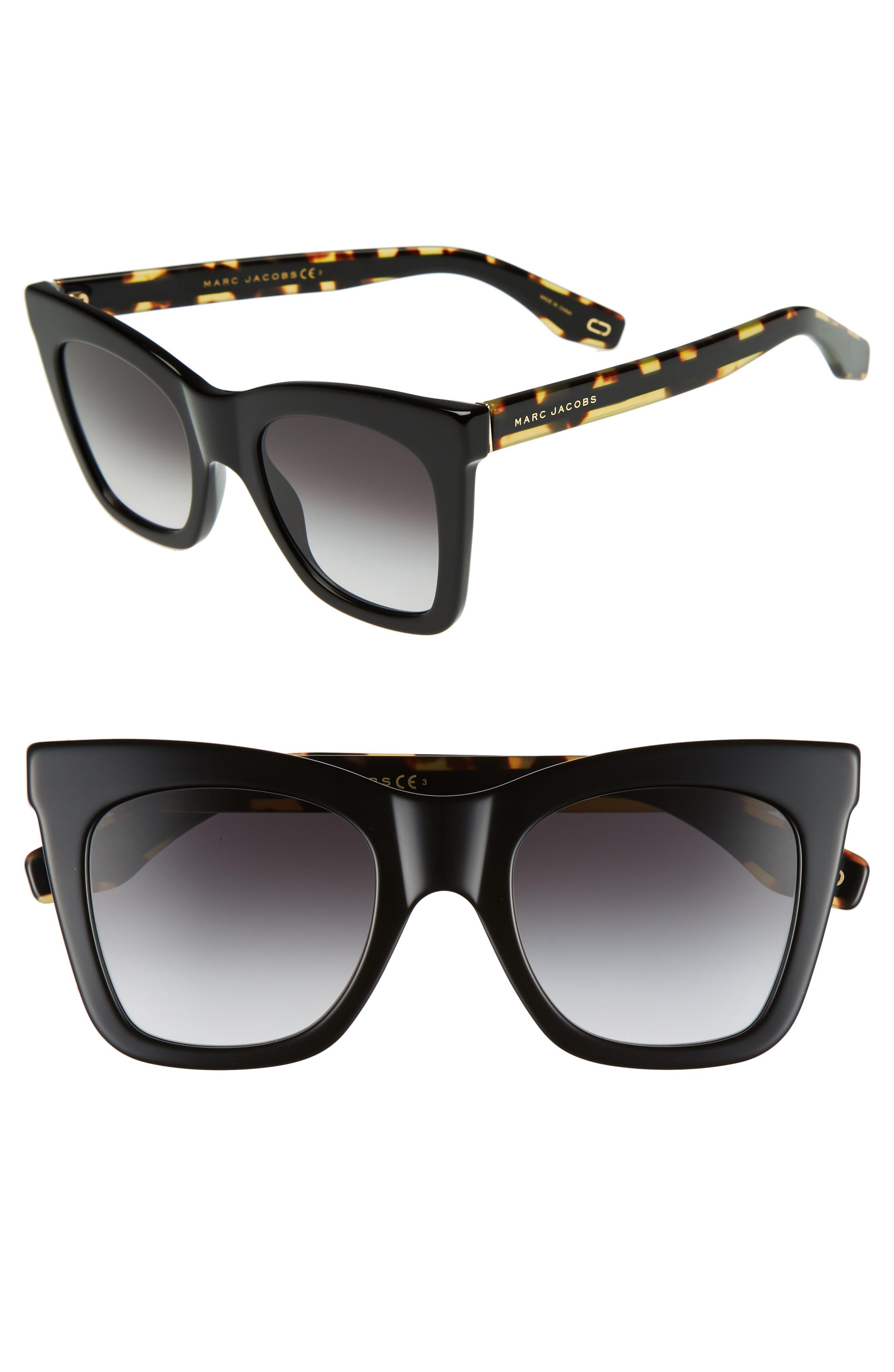 50mm Cat Eye Sunglasses,                             Main thumbnail 1, color,                             BLACK