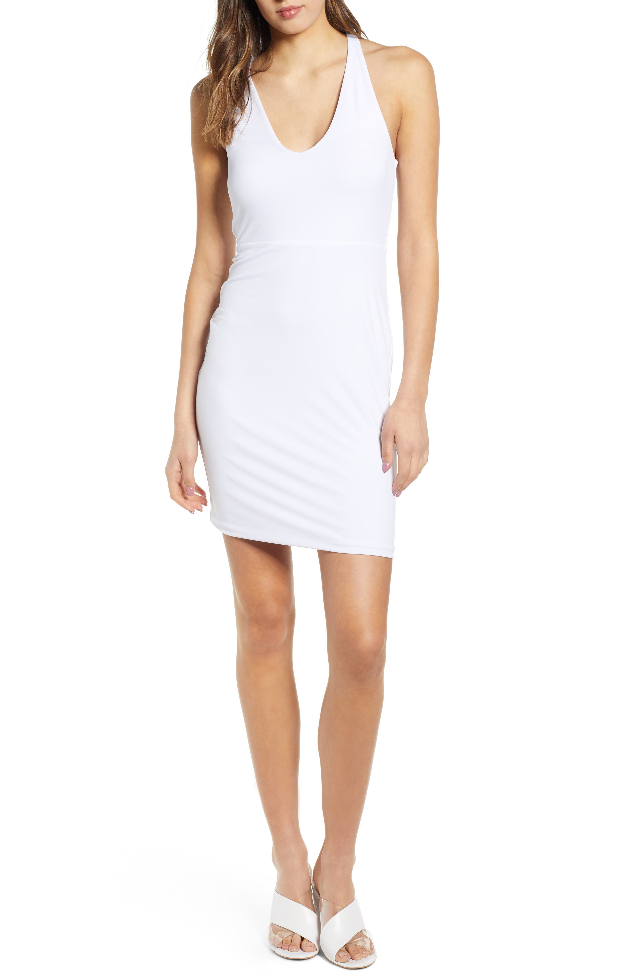 Leith Racerback Body-Con Dress, White