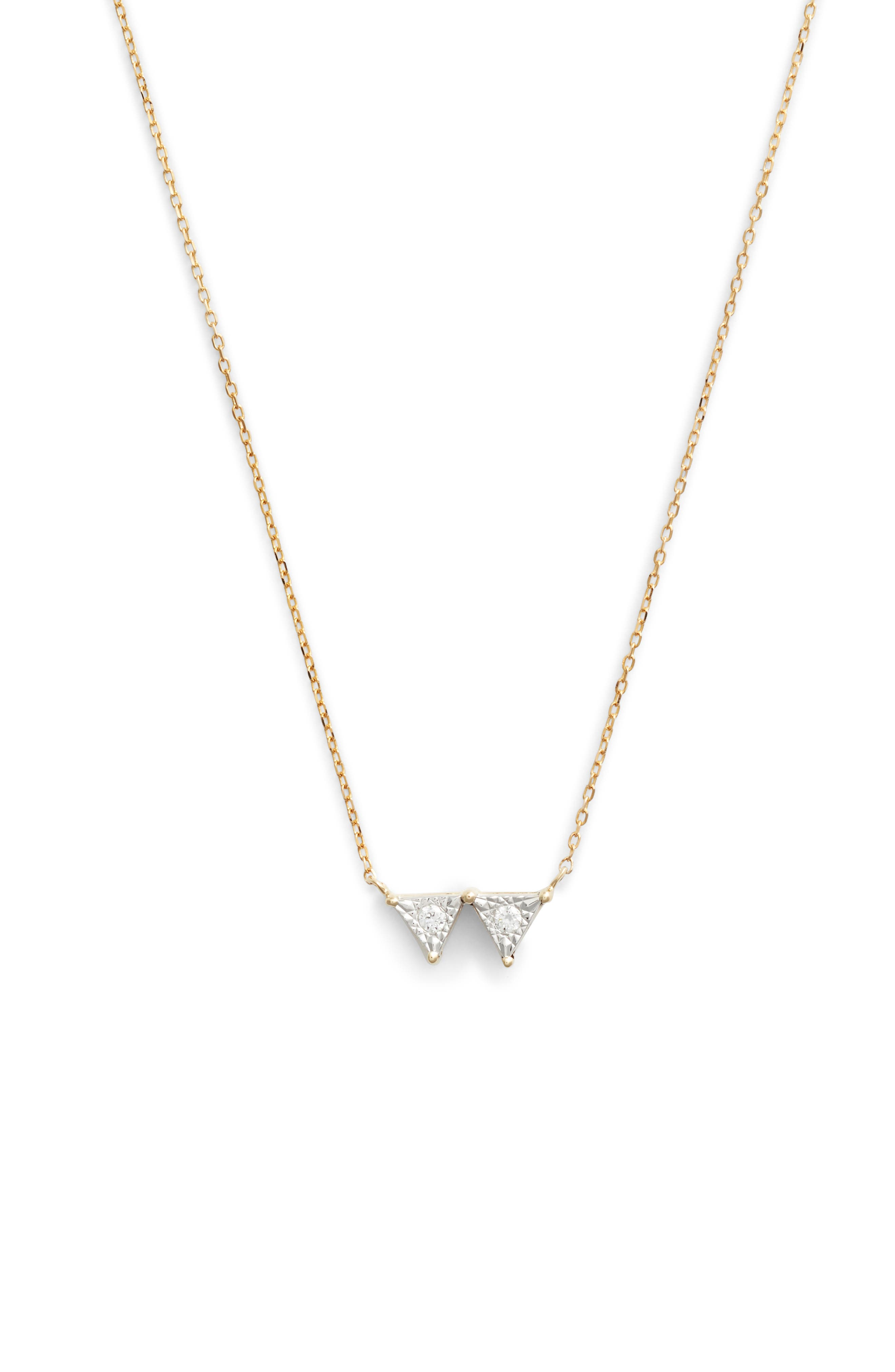 Emily Sarah Double Triangle Diamond Necklace,                             Main thumbnail 1, color,                             YELLOW GOLD