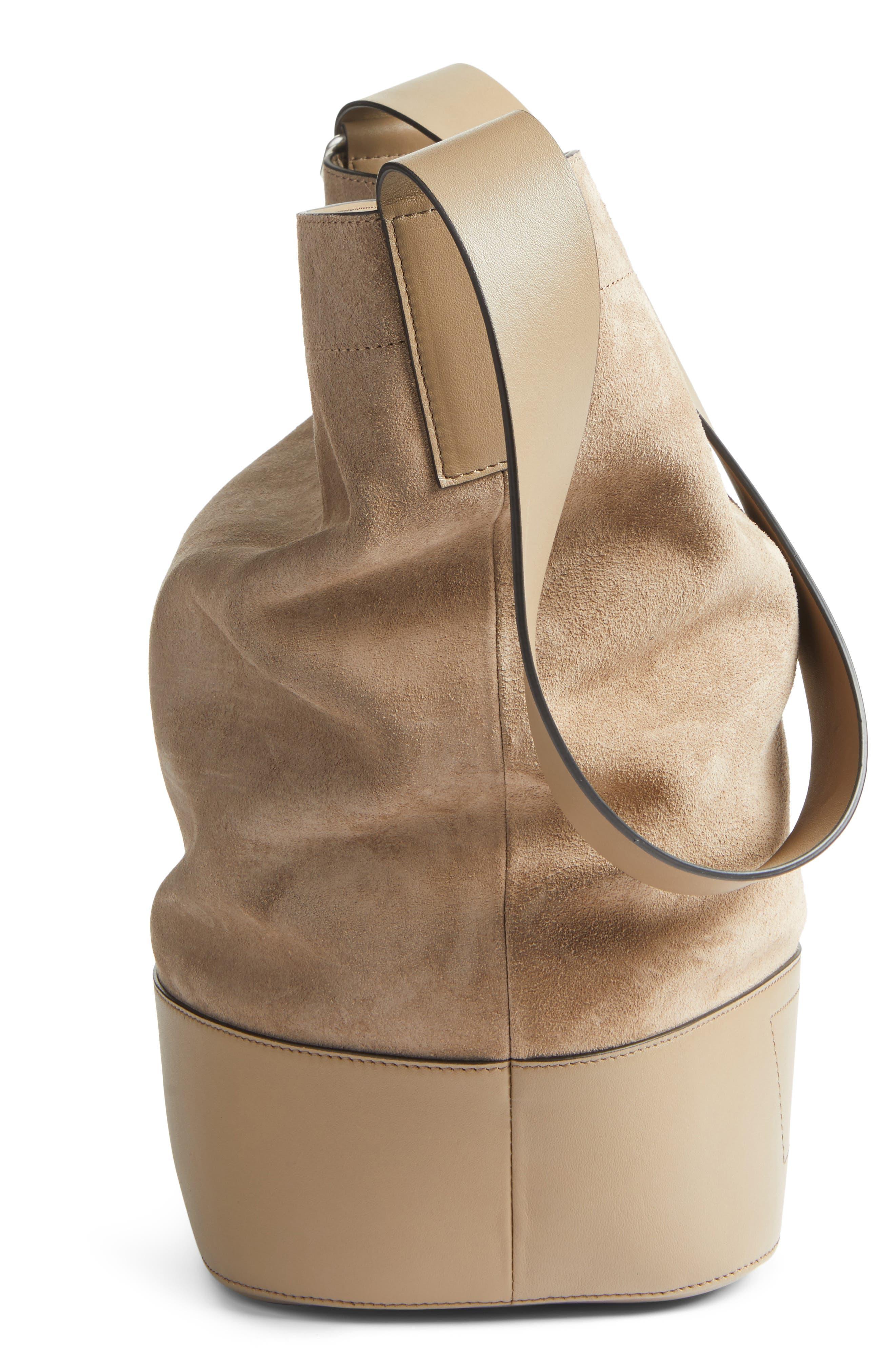 rag and bone Walker Sling Leather & Suede Bucket Bag,                             Alternate thumbnail 4, color,                             099