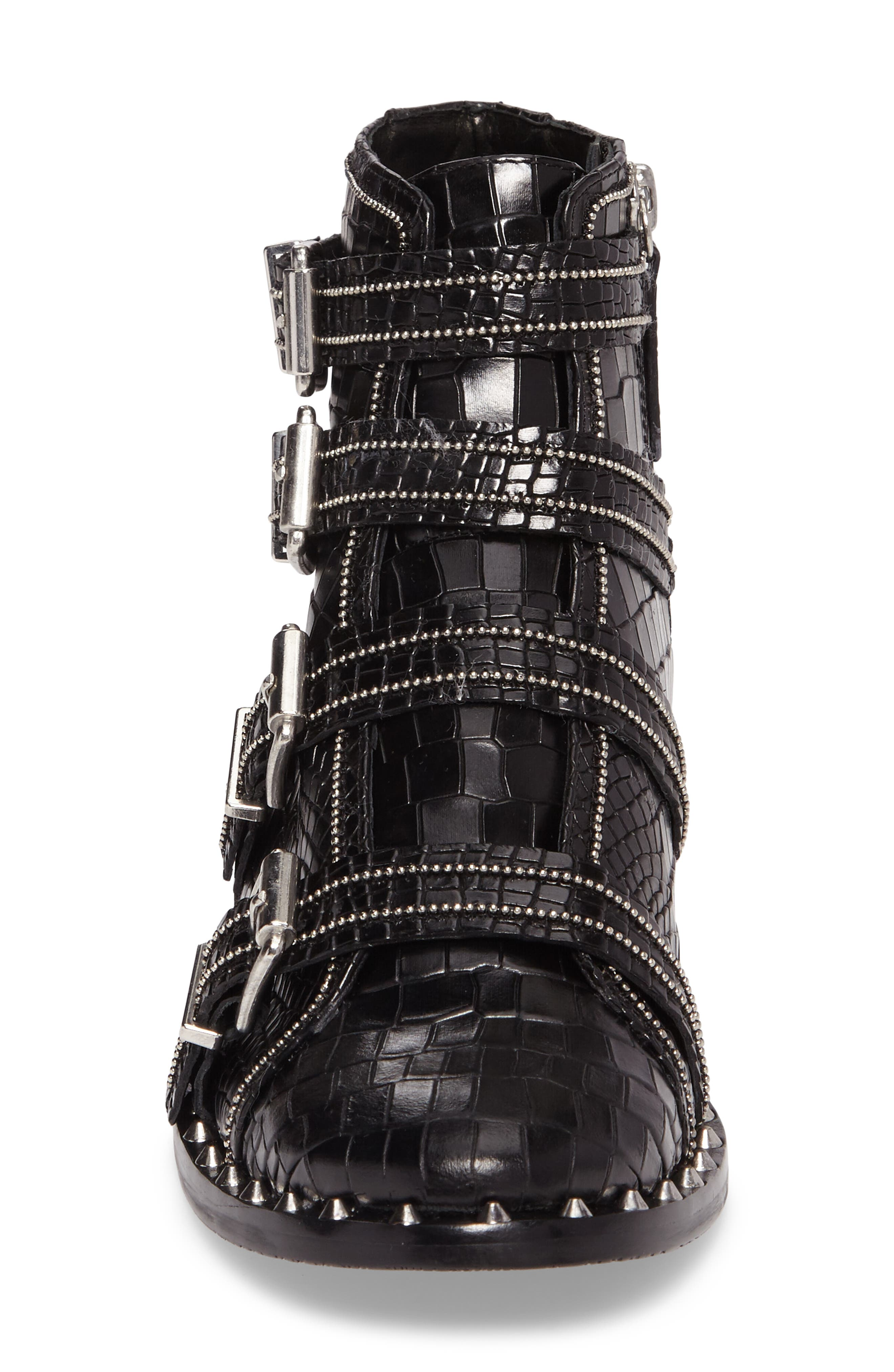 Darcey Studded Croc Embossed Bootie,                             Alternate thumbnail 4, color,                             001