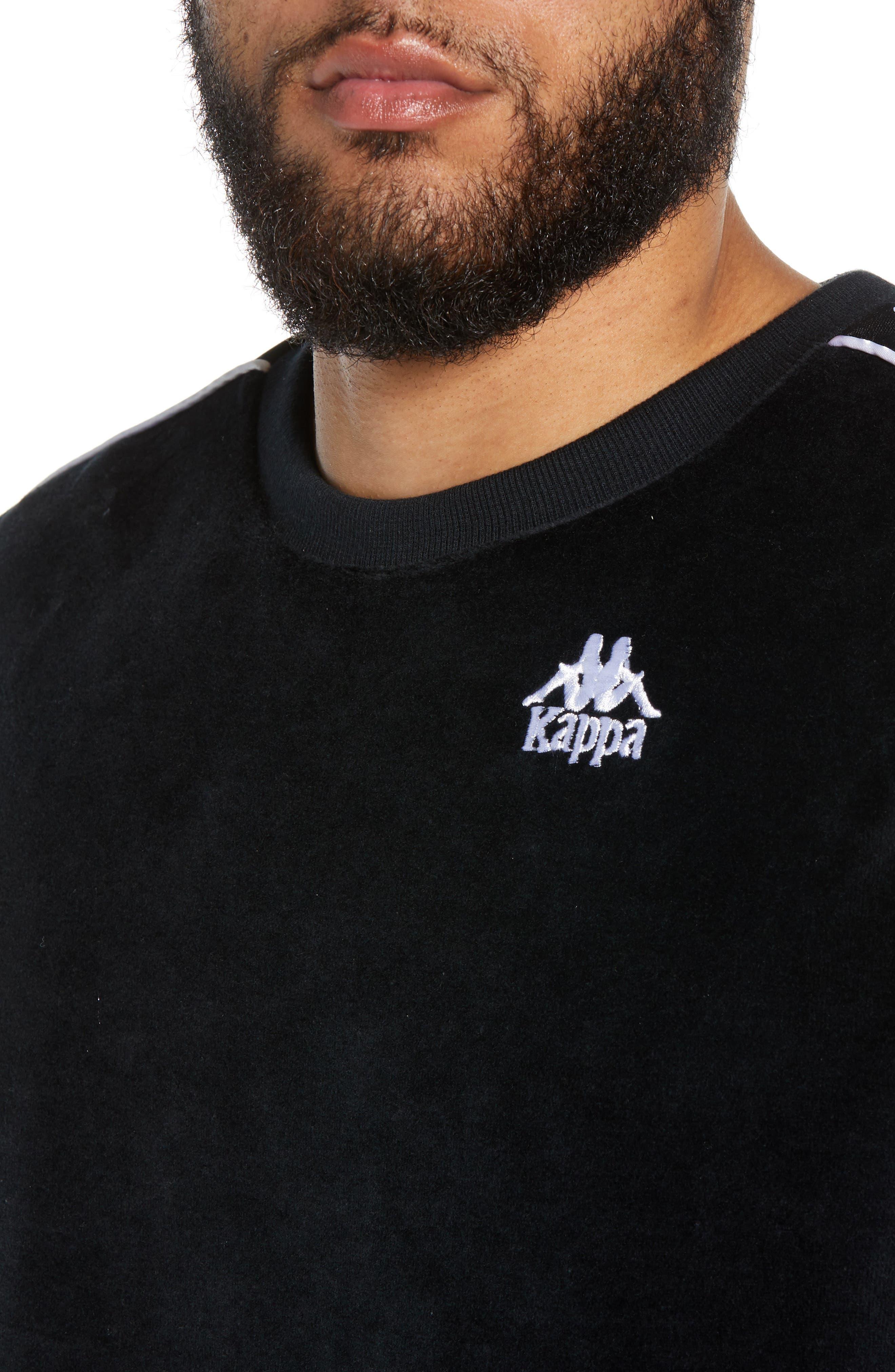 KAPPA,                             Authentic Aynset Velour Crewneck Sweatshirt,                             Alternate thumbnail 4, color,                             001