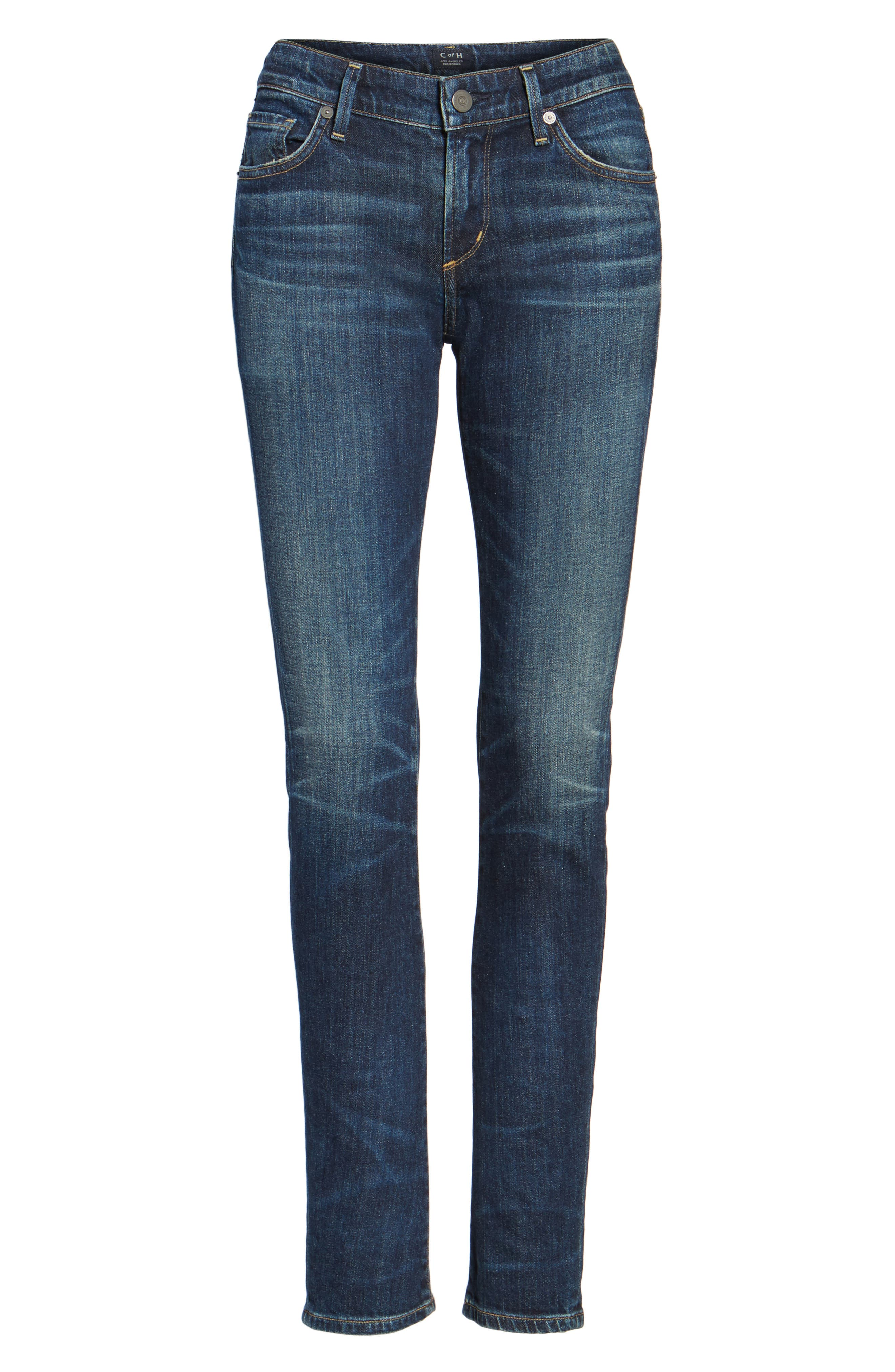 'Racer' Whiskered Skinny Jeans,                             Alternate thumbnail 2, color,                             PATINA