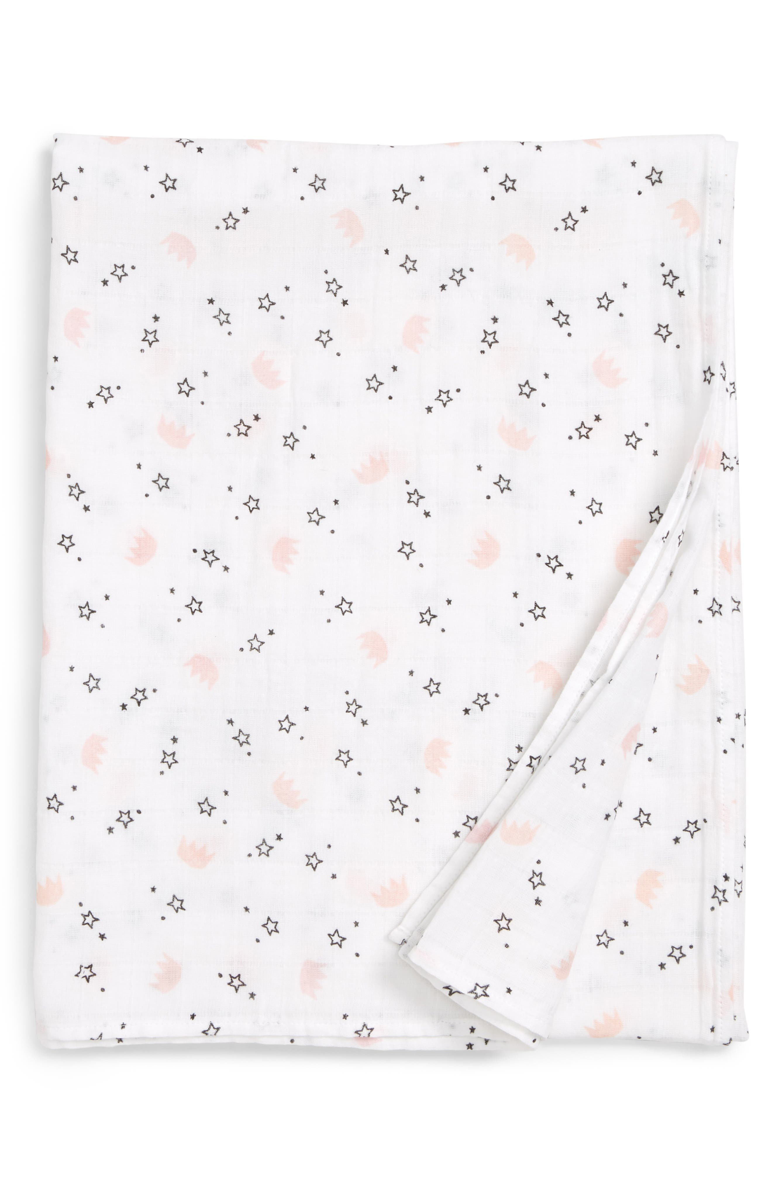 Cotton Swaddle Blanket,                         Main,                         color, WHITE- PINK CROWNS