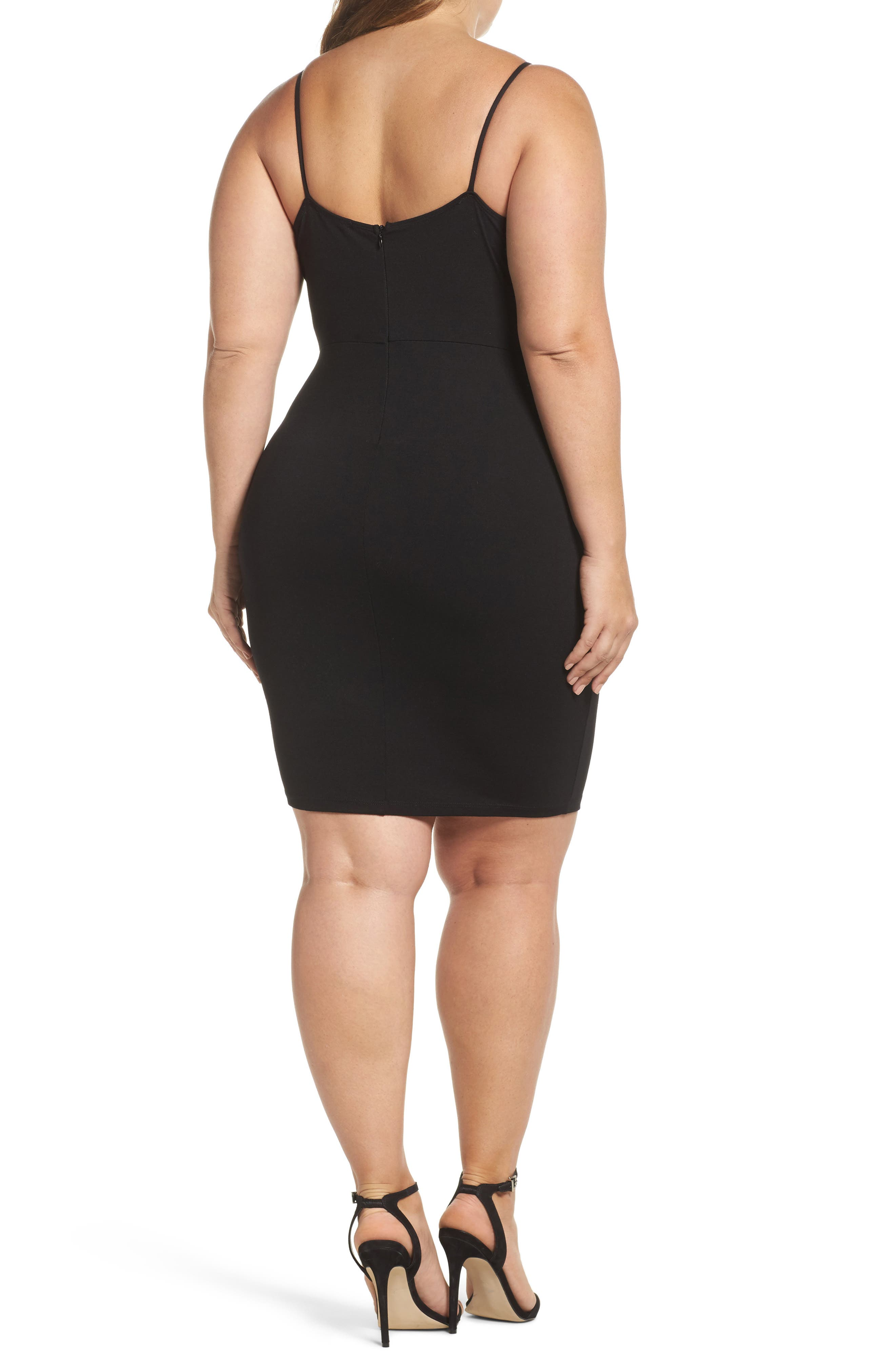 Lace Trim Body-Con Dress,                             Alternate thumbnail 2, color,                             001