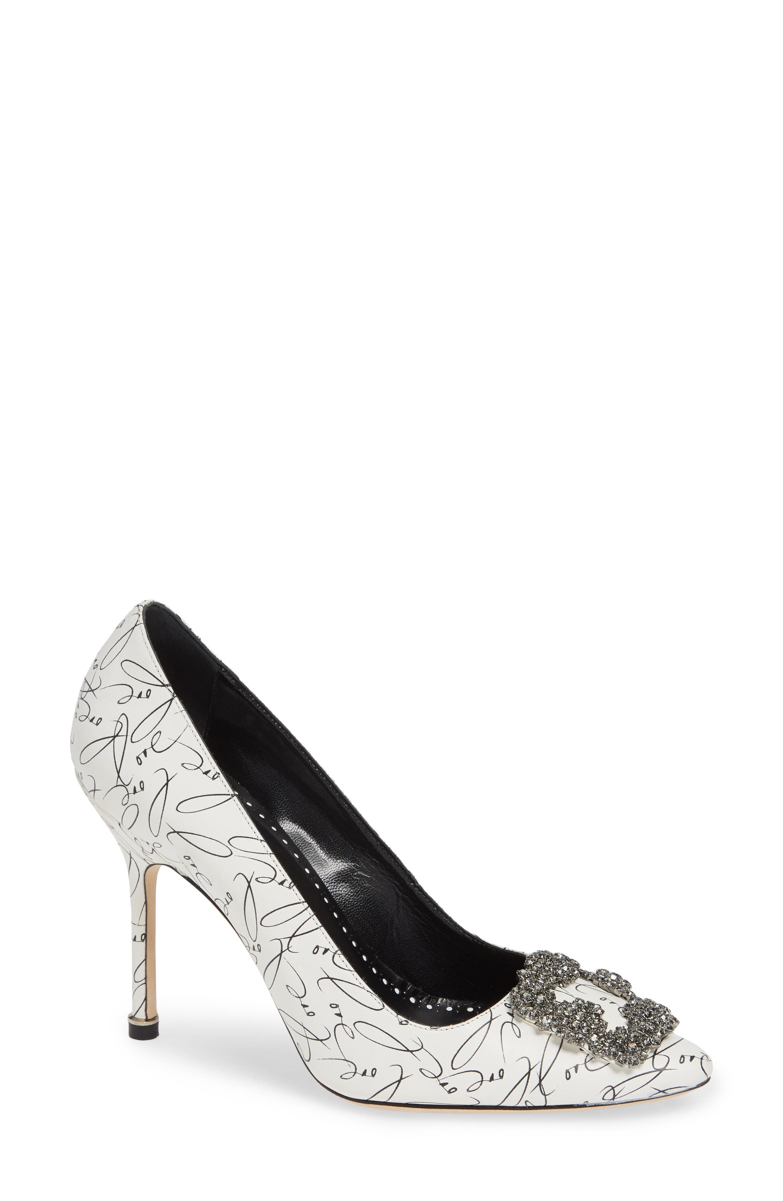 MANOLO BLAHNIK,                             Decade of Love Hangisi Anniversary Embellished Pump,                             Main thumbnail 1, color,                             WHITE LEATHER
