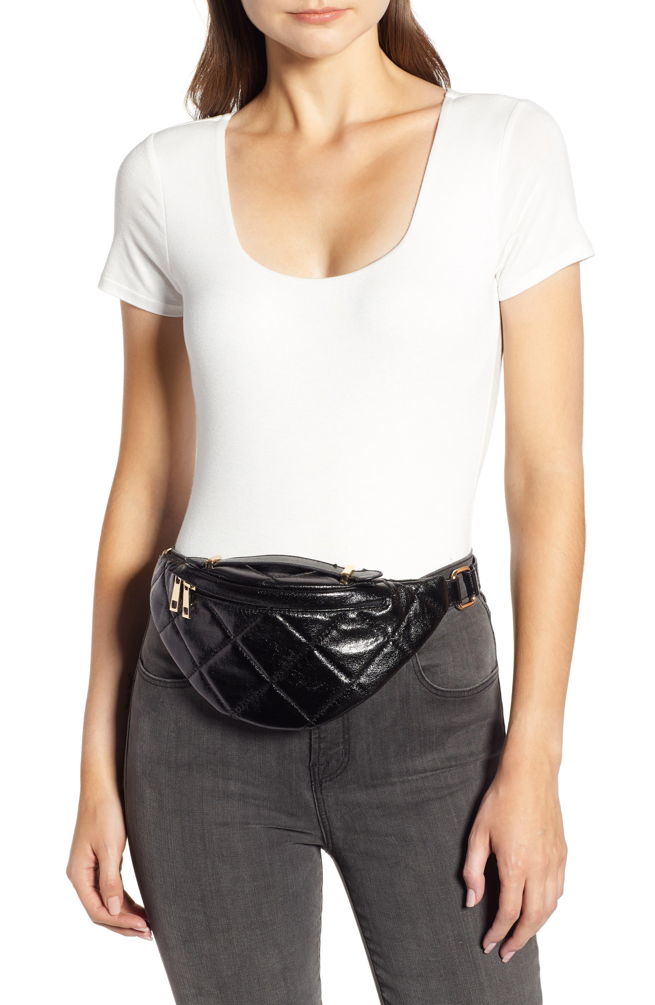 Quilted Faux Leather Belt Bag,                             Alternate thumbnail 2, color,                             BLACK