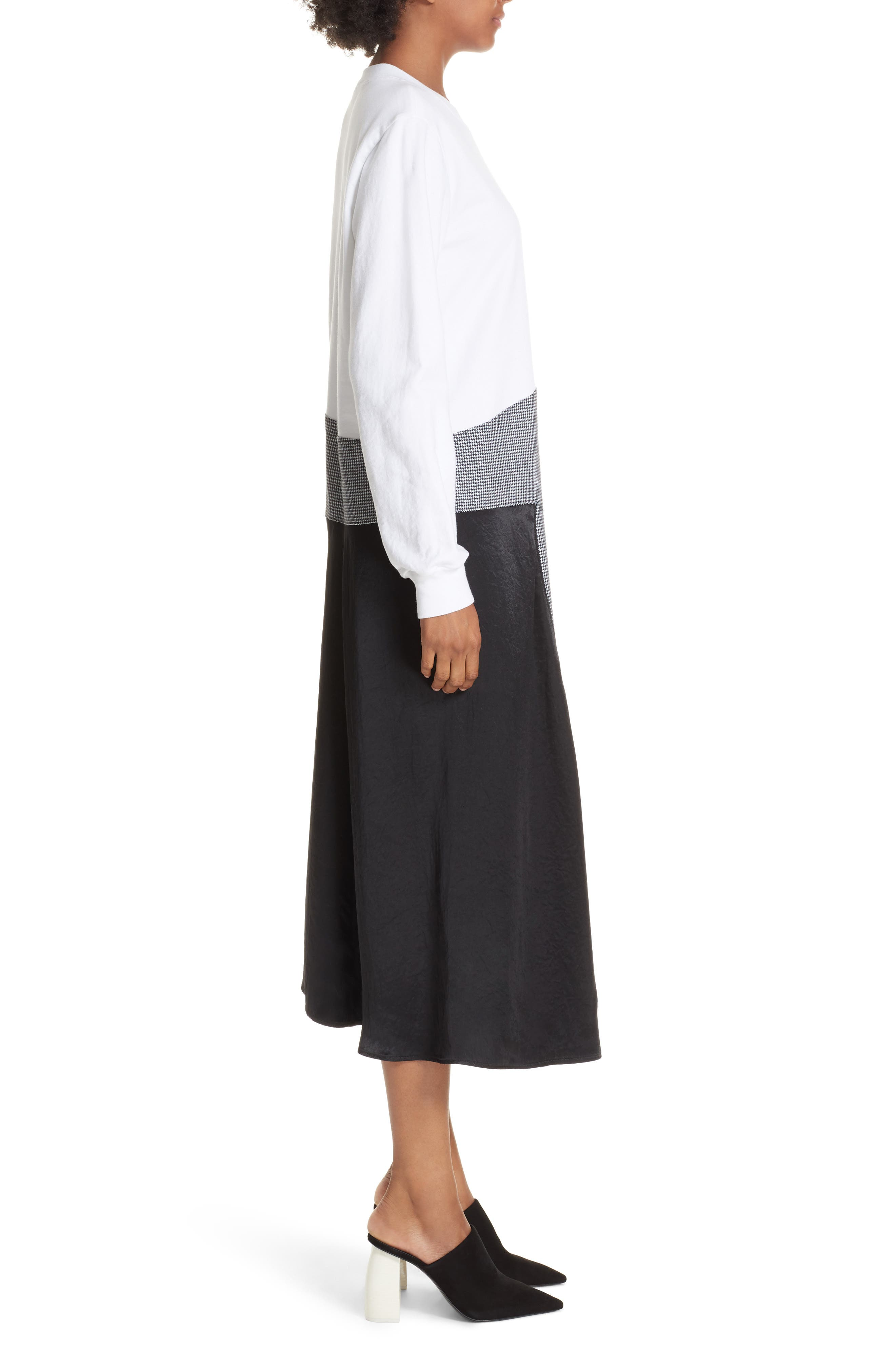 Colorblock Asymmetric Dress,                             Alternate thumbnail 3, color,                             WHITE/ BLACK