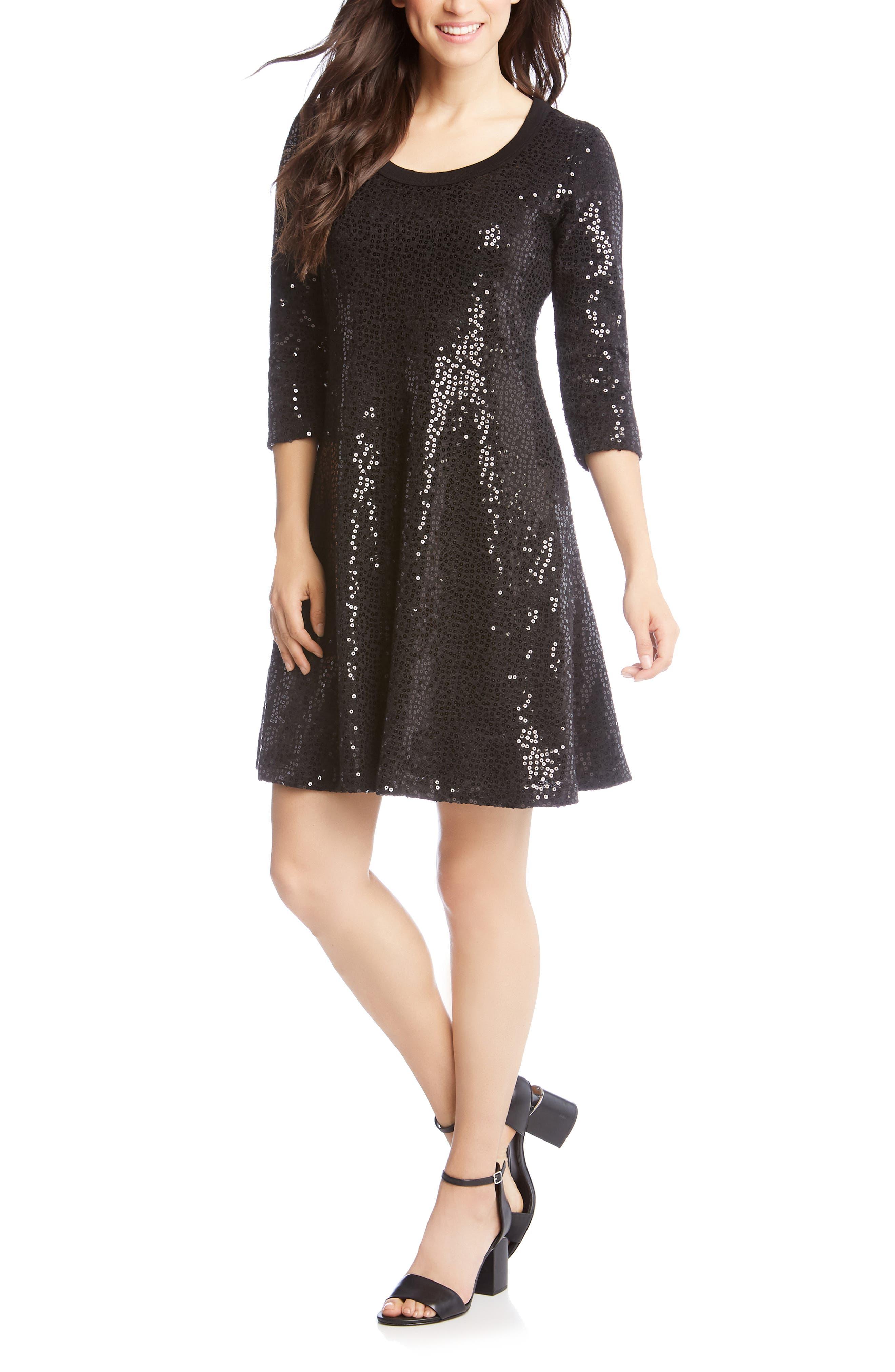 Karen Kane Sequin Embellished Sweater Dress, Black